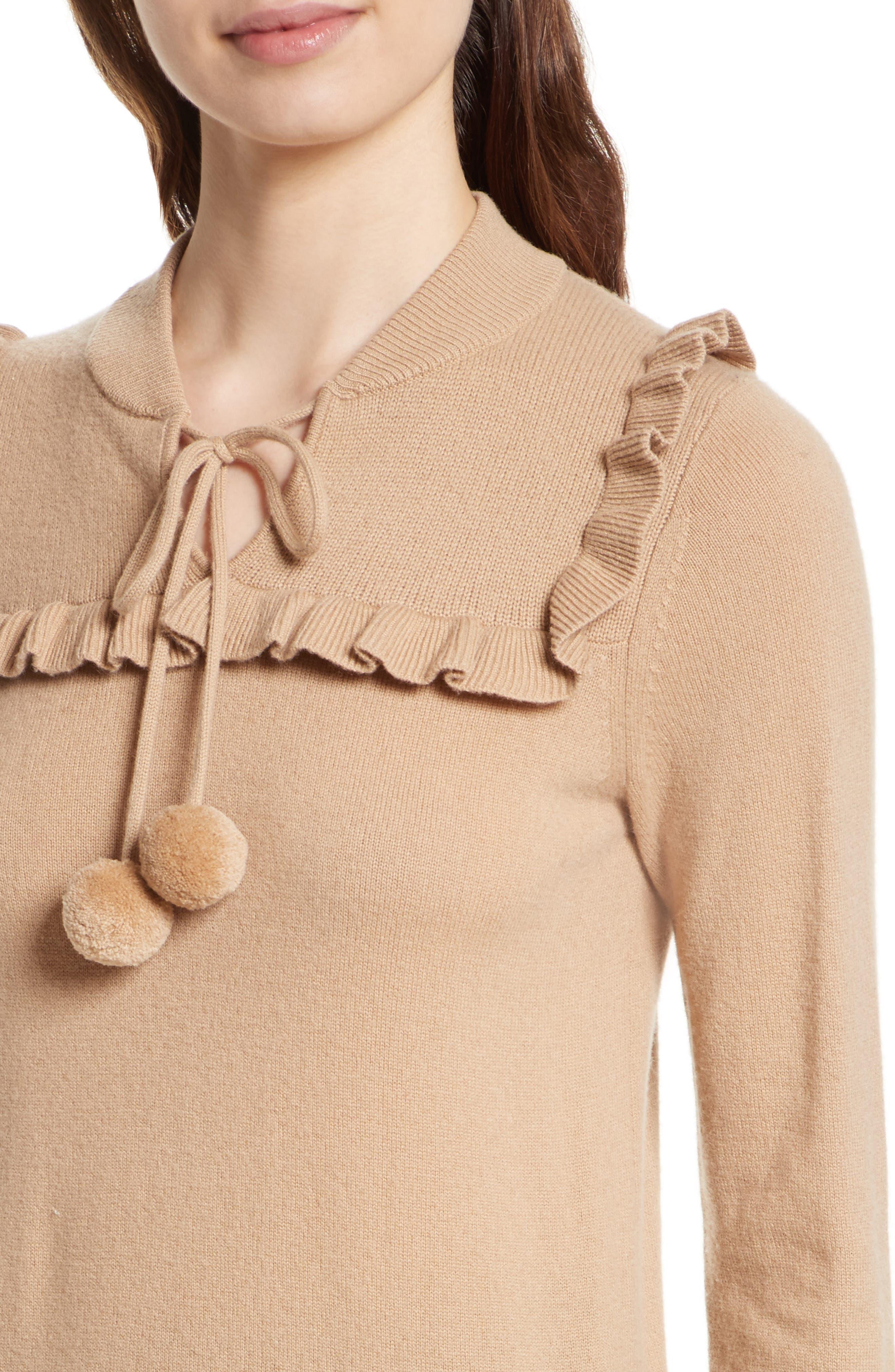 pompom wool & cashmere sweater,                             Alternate thumbnail 4, color,                             Adalia Camel