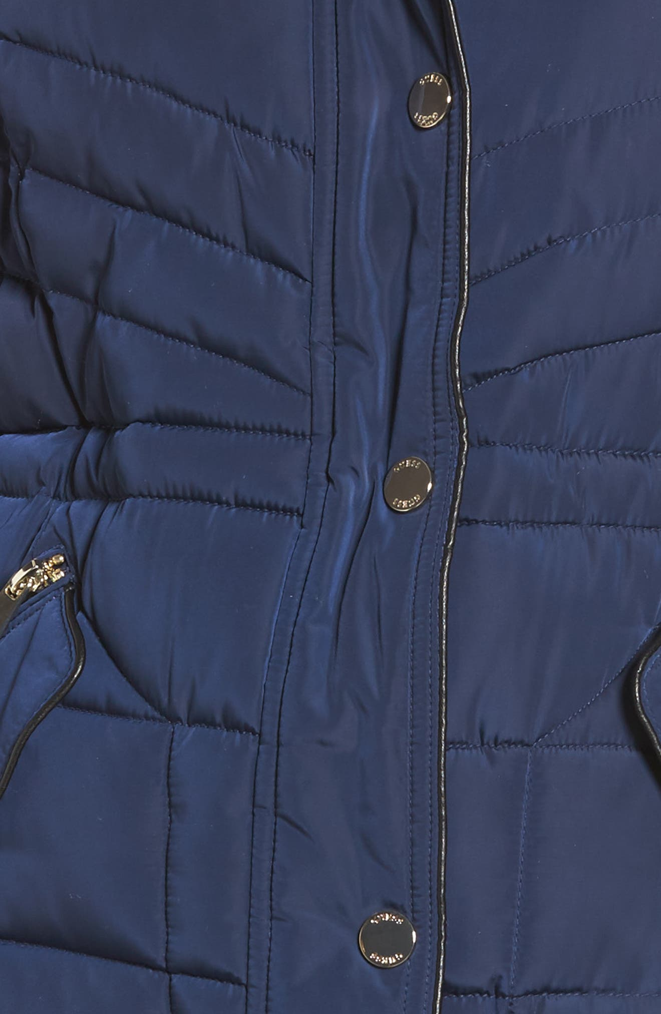 Alternate Image 5  - GUESS Faux Fur Trim Quilted Anorak