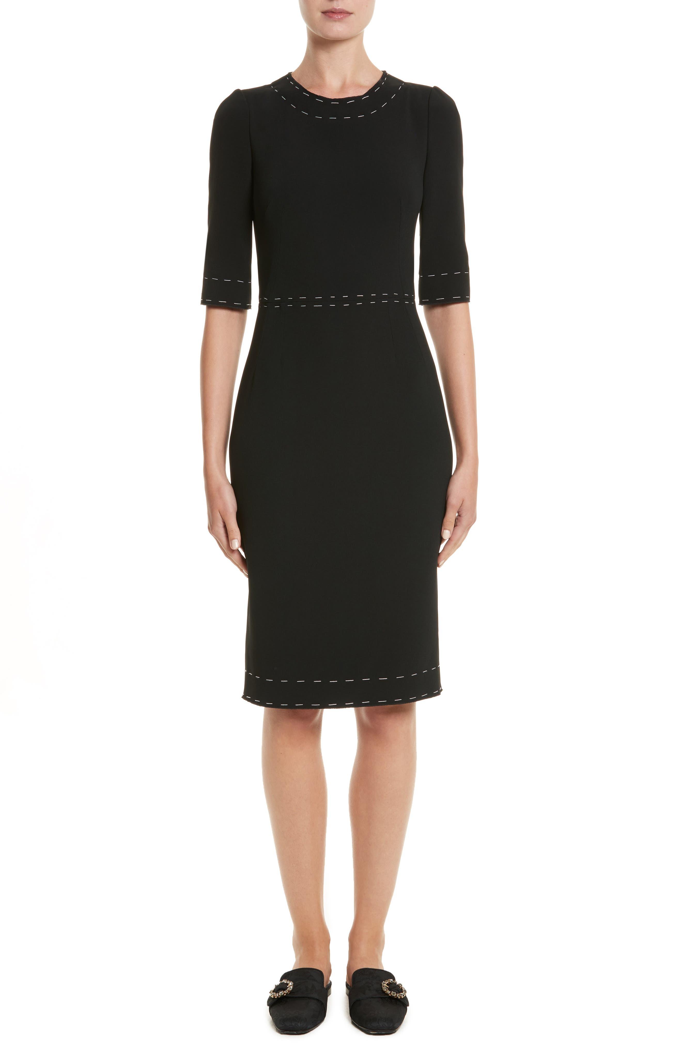 Stretch Cady Sheath Dress,                         Main,                         color, Nero
