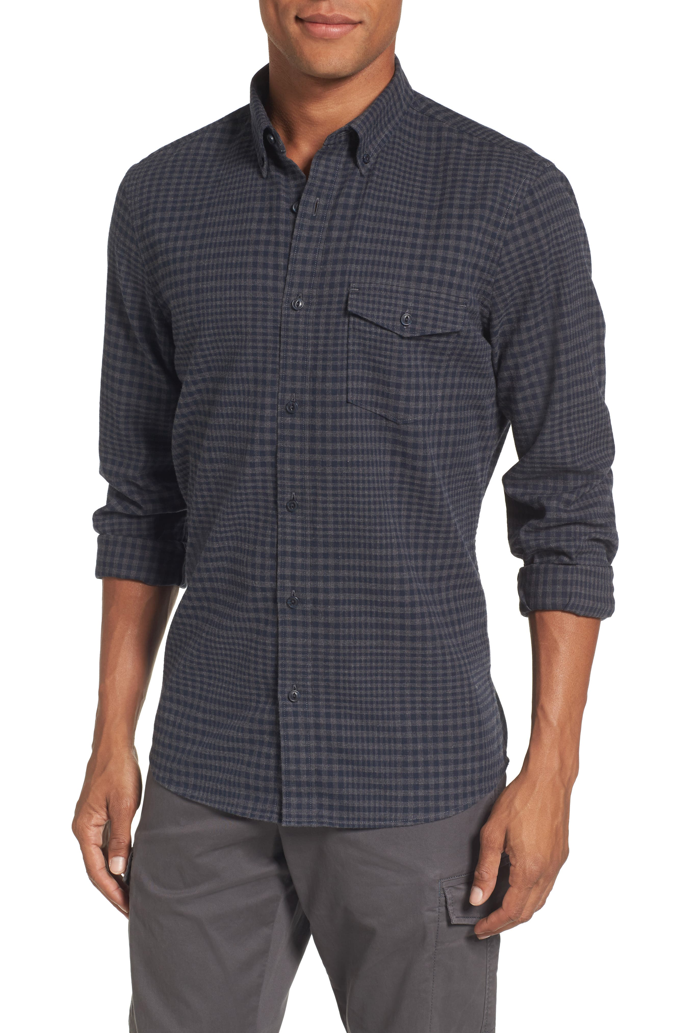 Main Image - Nordstrom Men's Shop Slim Fit Washed Glen Plaid Sport Shirt
