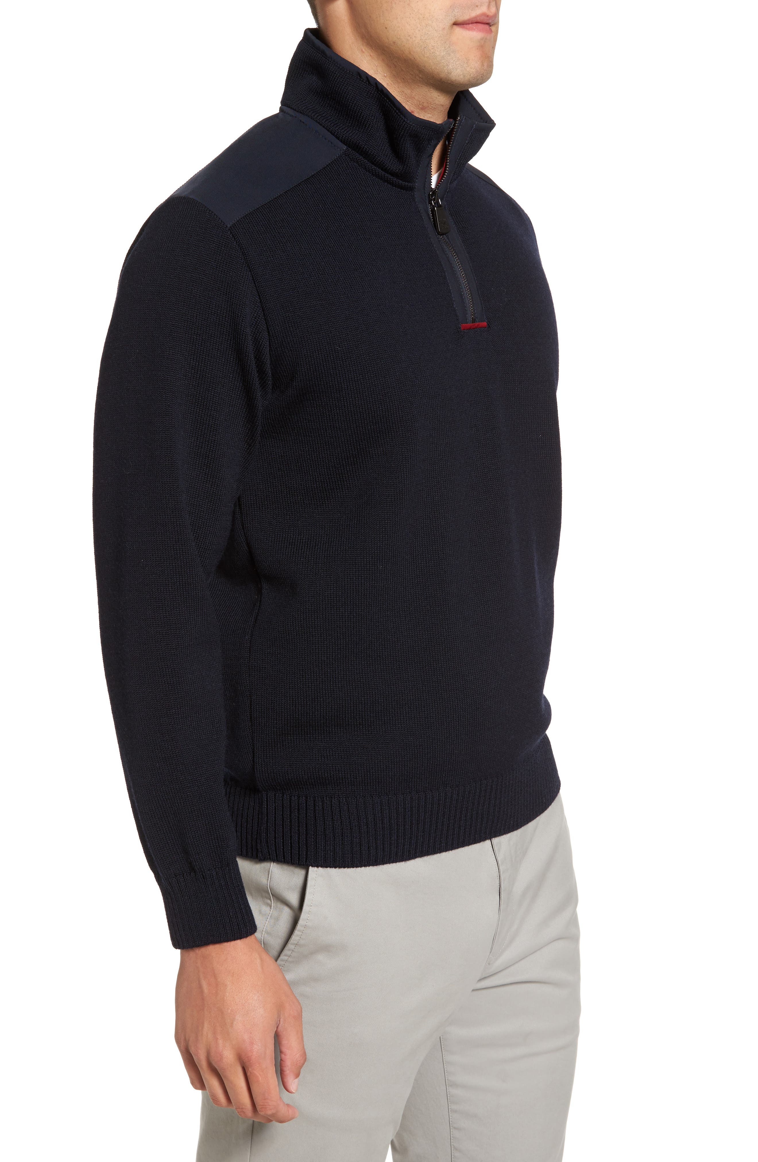 Paul&Shark Bretagne Quarter Zip Wool Sweater,                             Alternate thumbnail 3, color,                             Navy
