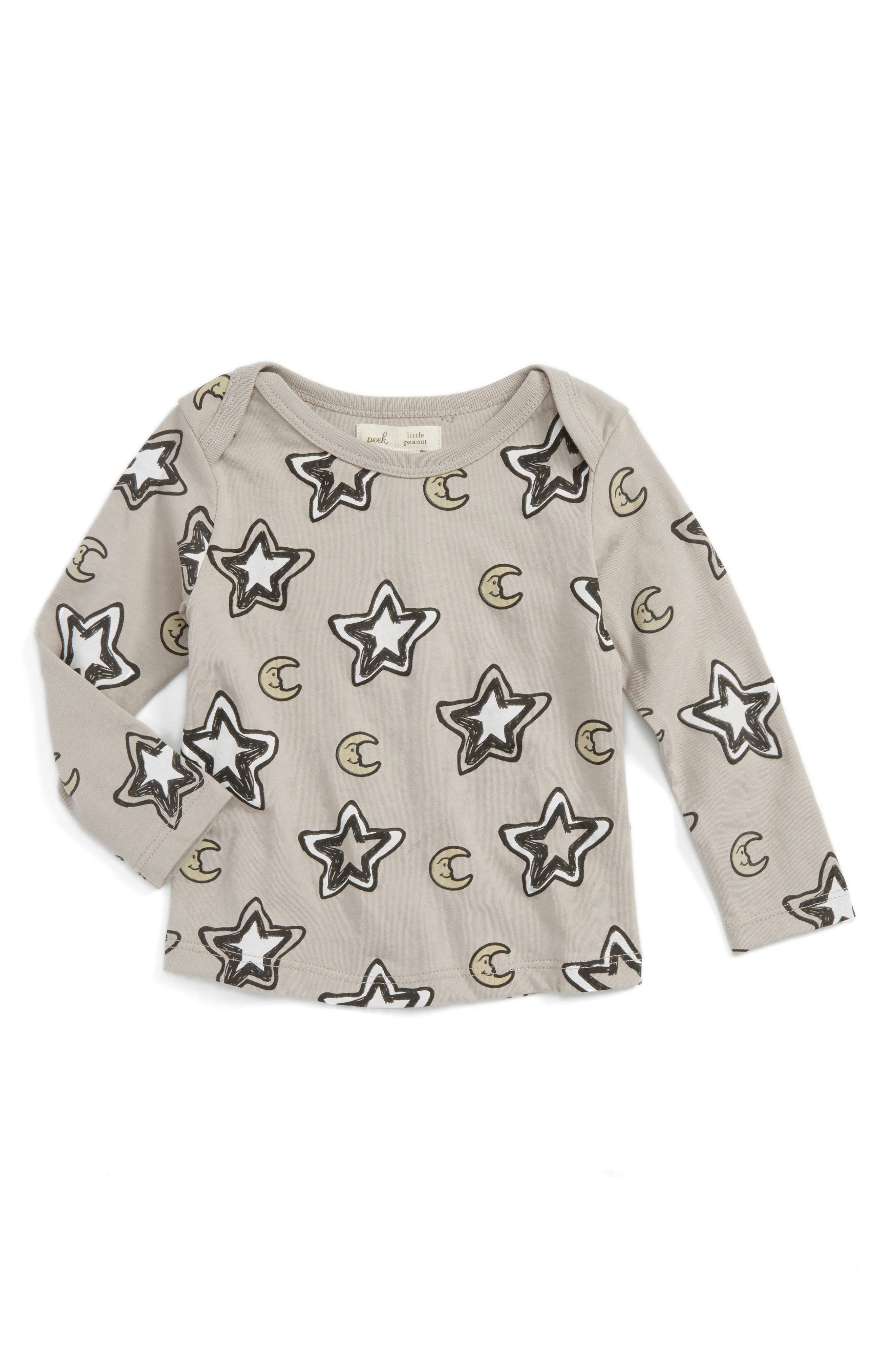 Peek Star & Moon Print T-Shirt,                             Main thumbnail 1, color,                             Grey