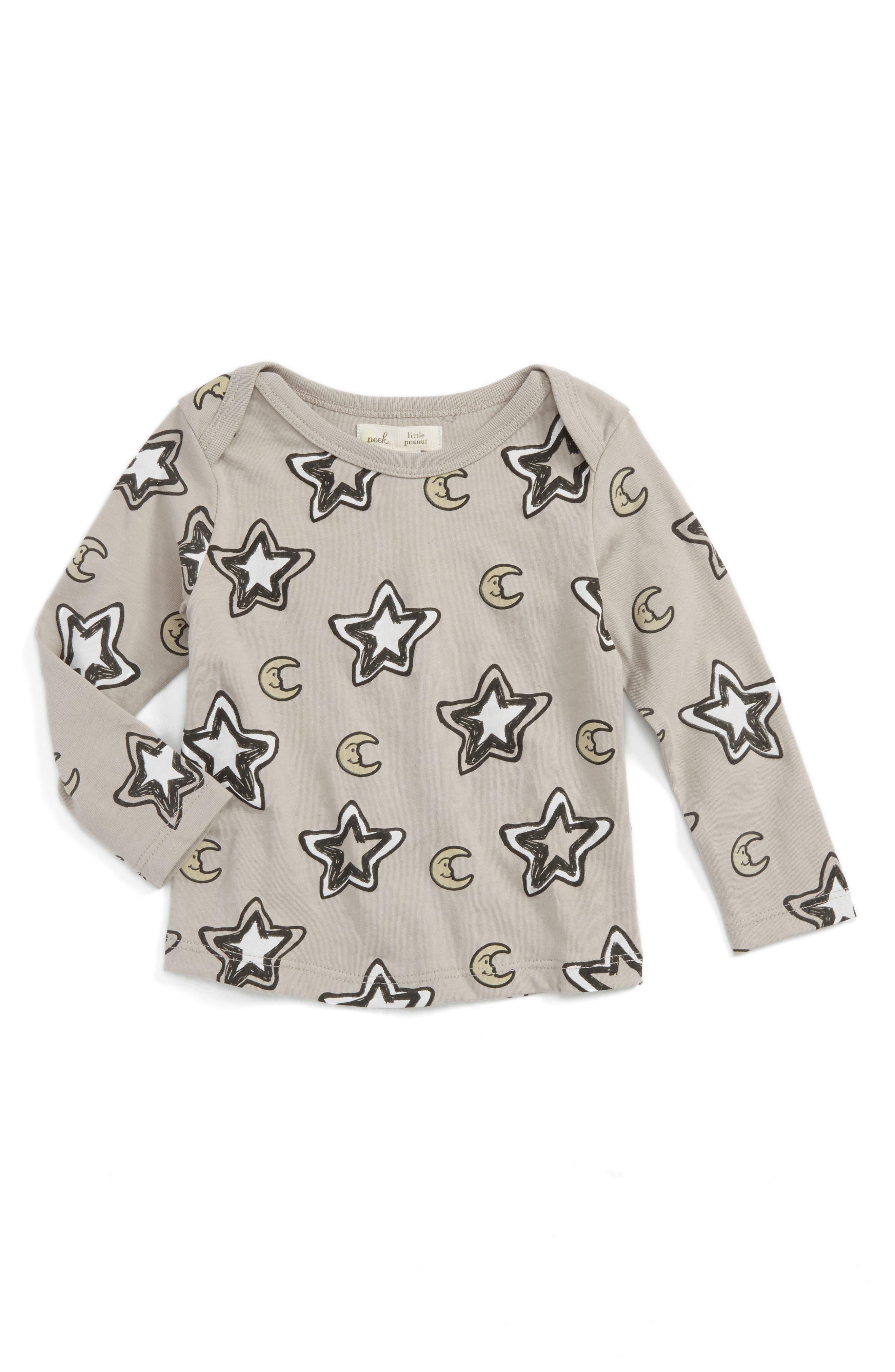 Peek Star & Moon Print T-Shirt,                         Main,                         color, Grey