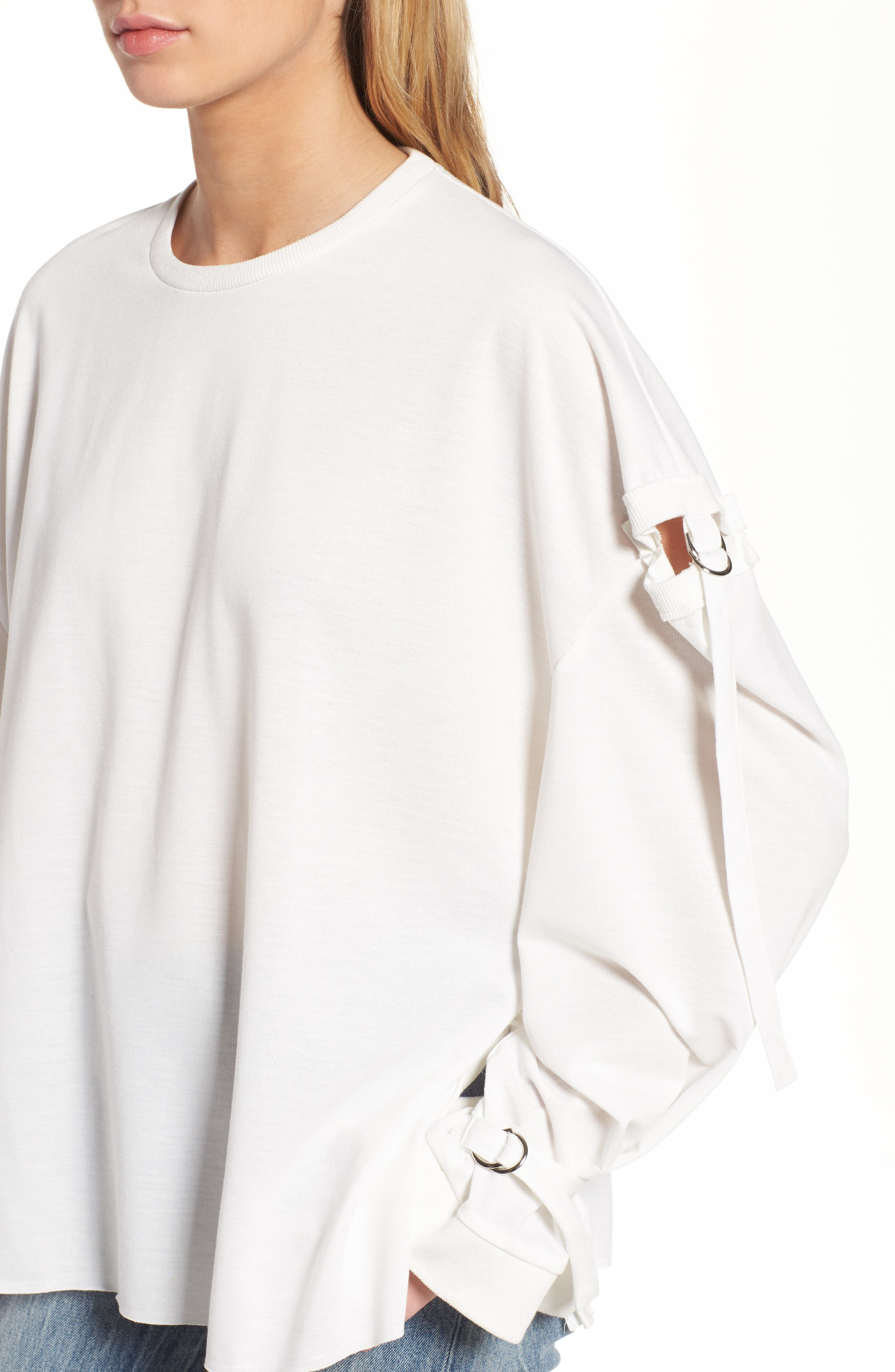 Cutout Detail Sweatshirt,                             Alternate thumbnail 4, color,                             White