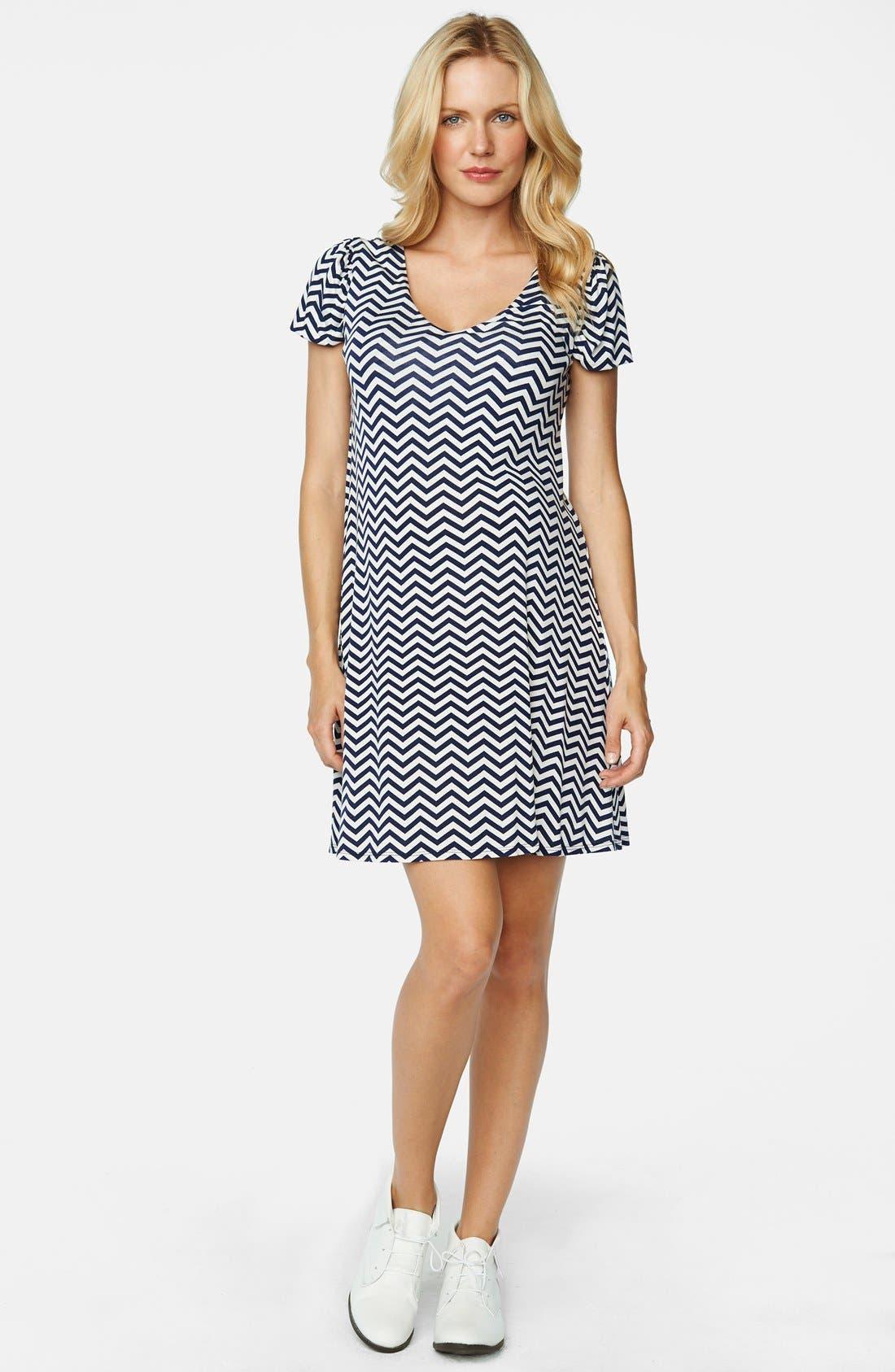 Bow Back Maternity Dress,                         Main,                         color, Navy Zig Zag