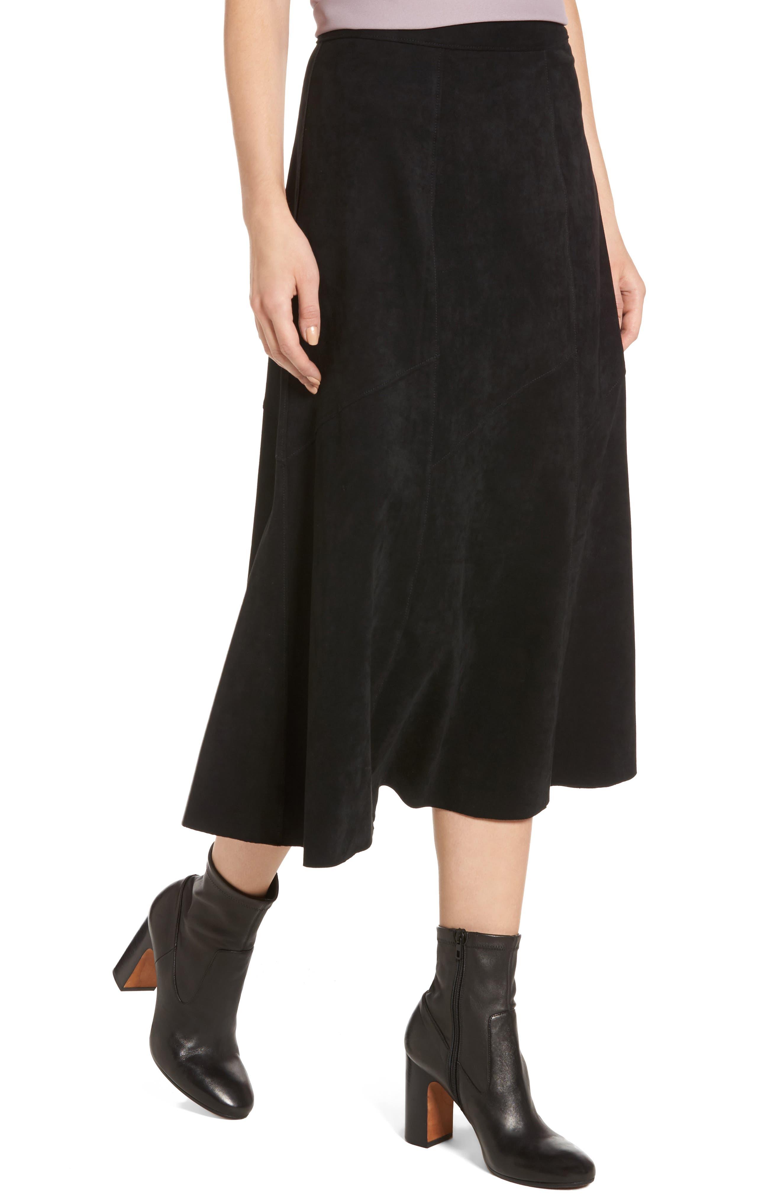 Faux Suede Midi Skirt,                             Alternate thumbnail 4, color,                             Black