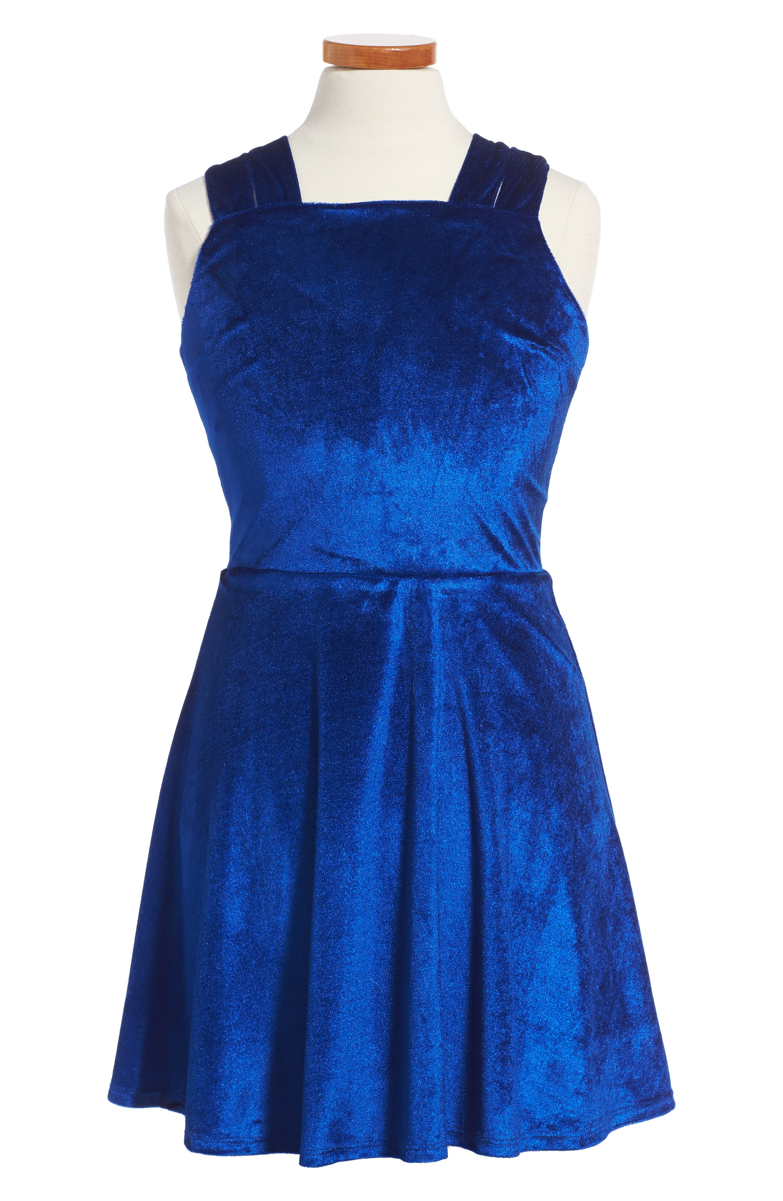 Nancy Velvet Dress,                         Main,                         color, Royal