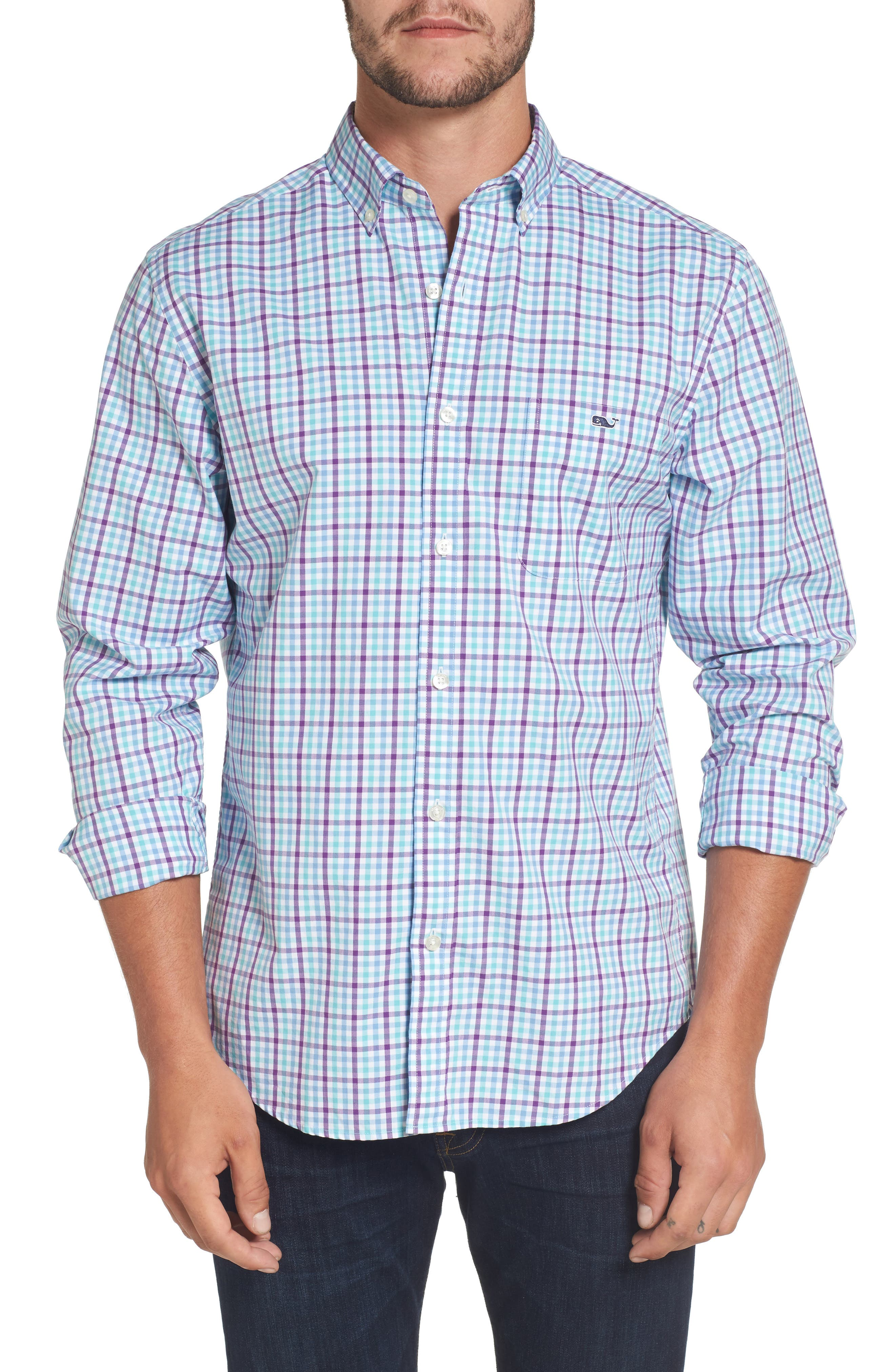 Alternate Image 1 Selected - vineyard vines Tucker Classic Fit Gingham Sport Shirt