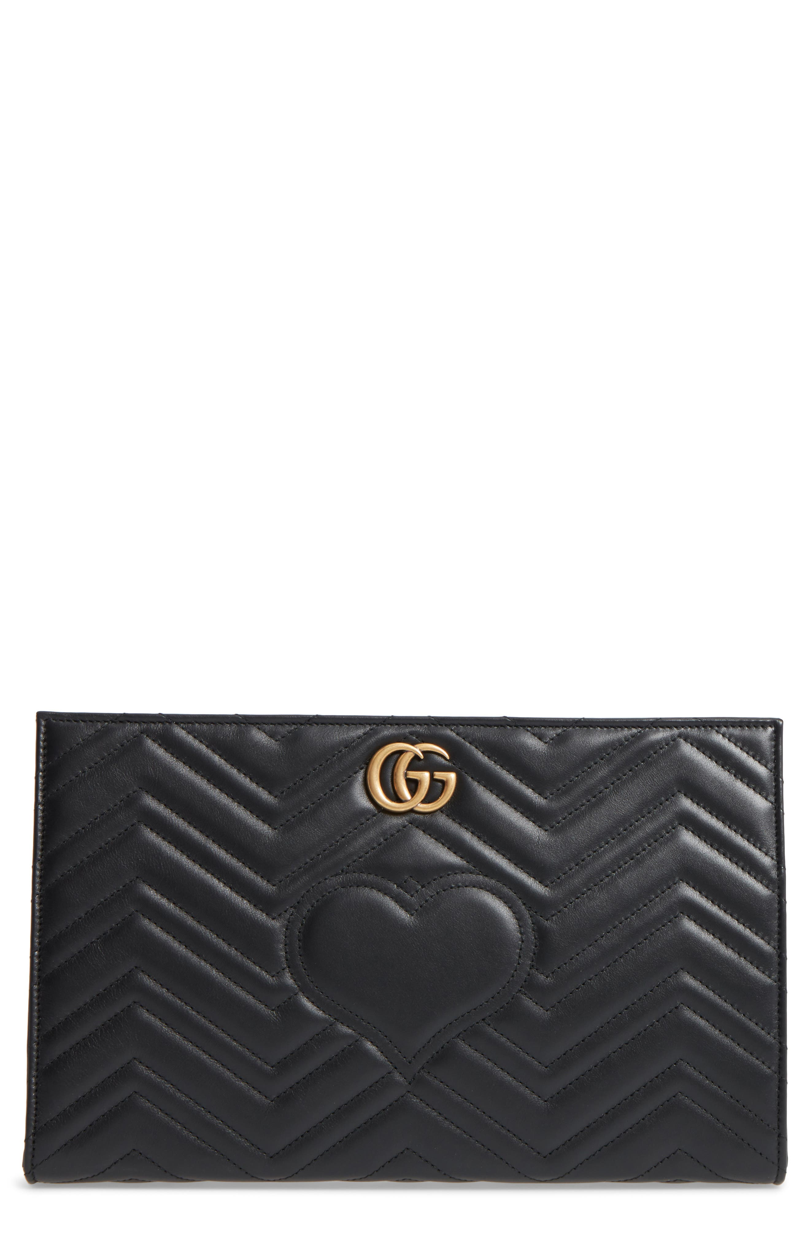 GG Marmont Matelassé Leather Clutch,                             Main thumbnail 1, color,                             Nero