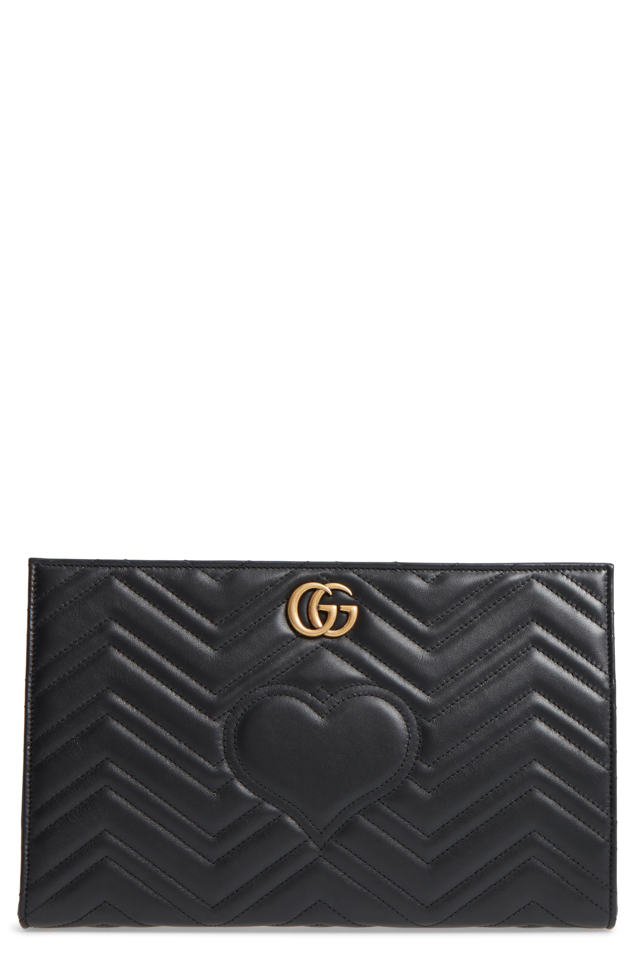 GG Marmont Matelassé Leather Clutch,                         Main,                         color, Nero
