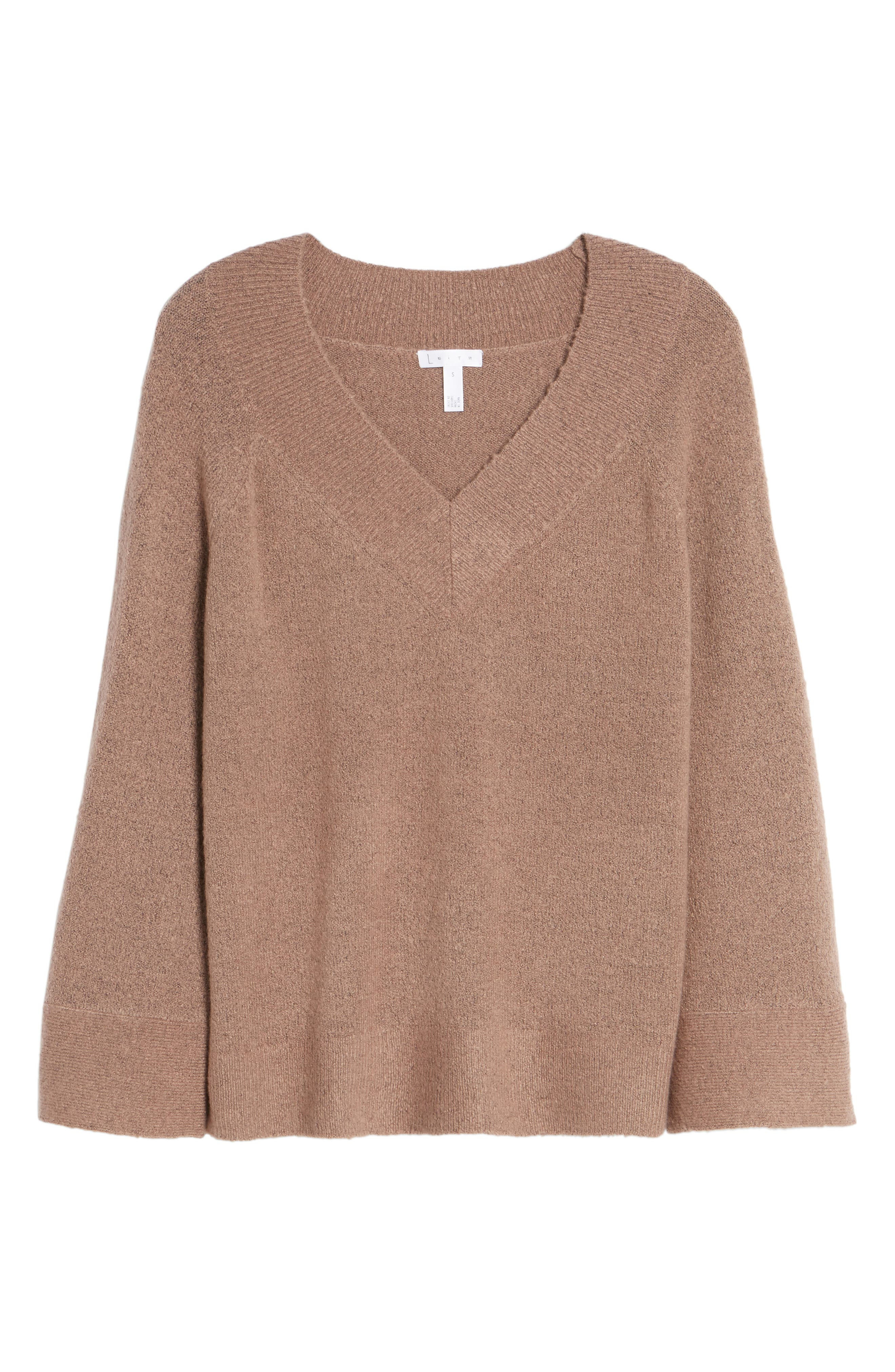 Bell Sleeve Sweater,                             Alternate thumbnail 6, color,                             Brown Taupe