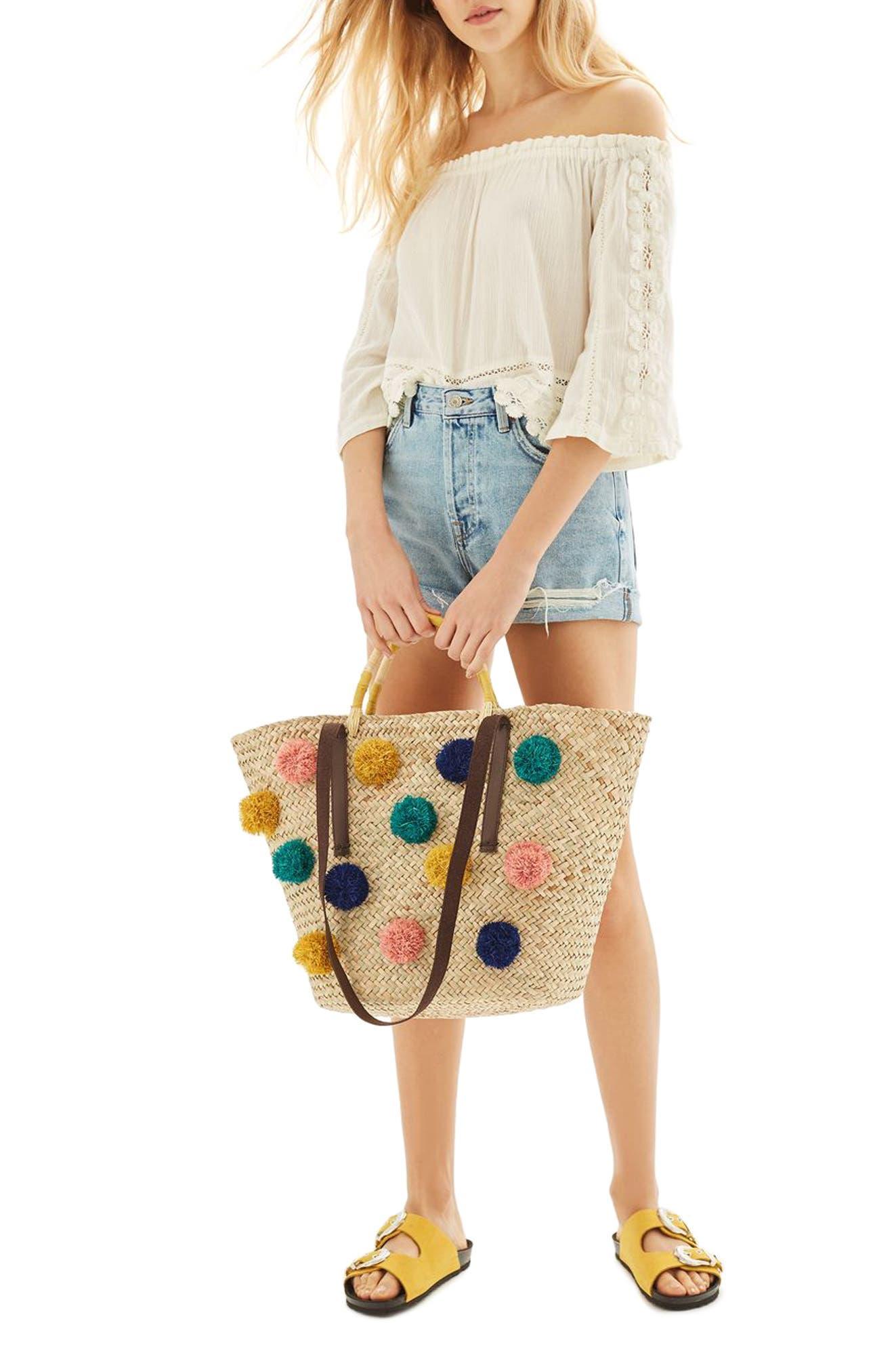 Alternate Image 2  - Topshop Pompom Straw Tote Bag