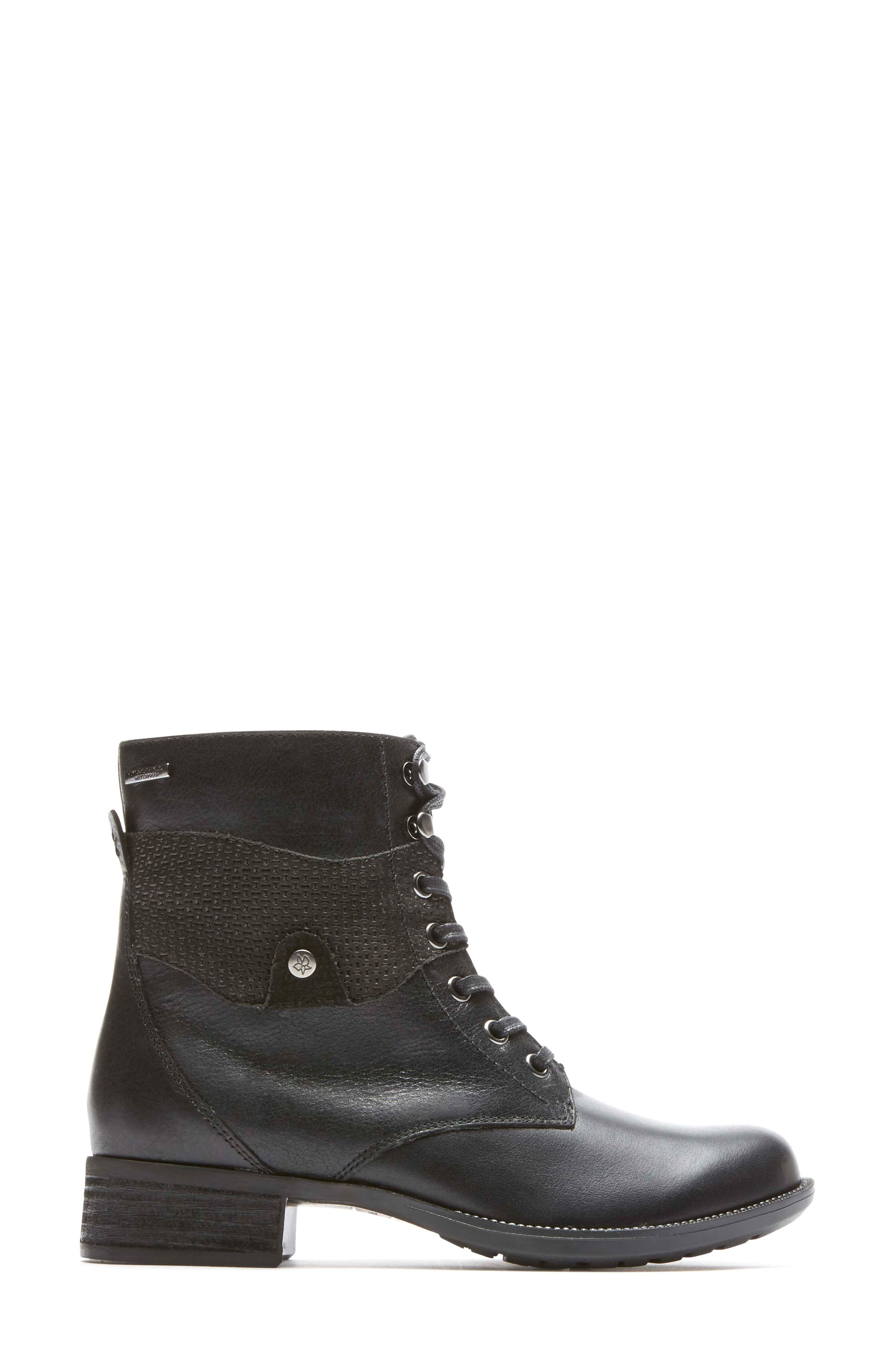 Copley Waterproof Combat Boot,                             Alternate thumbnail 3, color,                             Black Leather