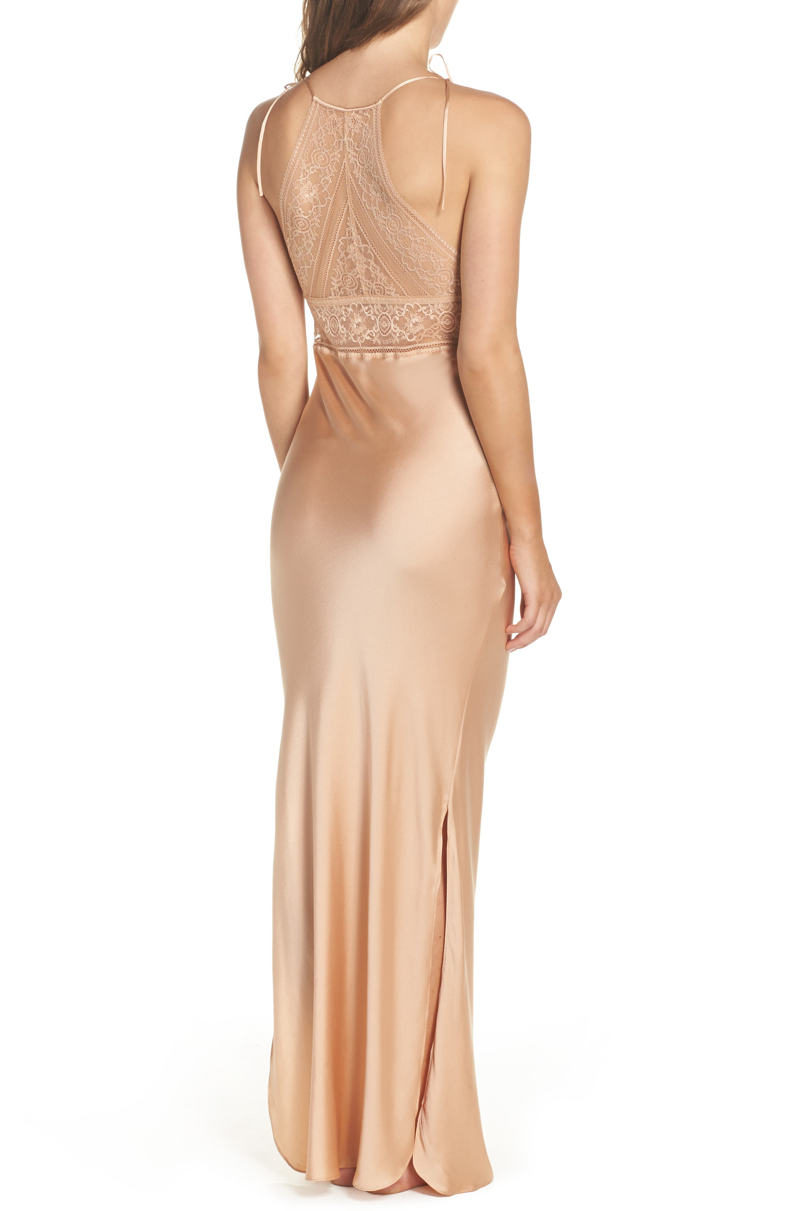 Ophelia Whistling Lace & Silk Nightgown,                             Alternate thumbnail 2, color,                             Deep Nude