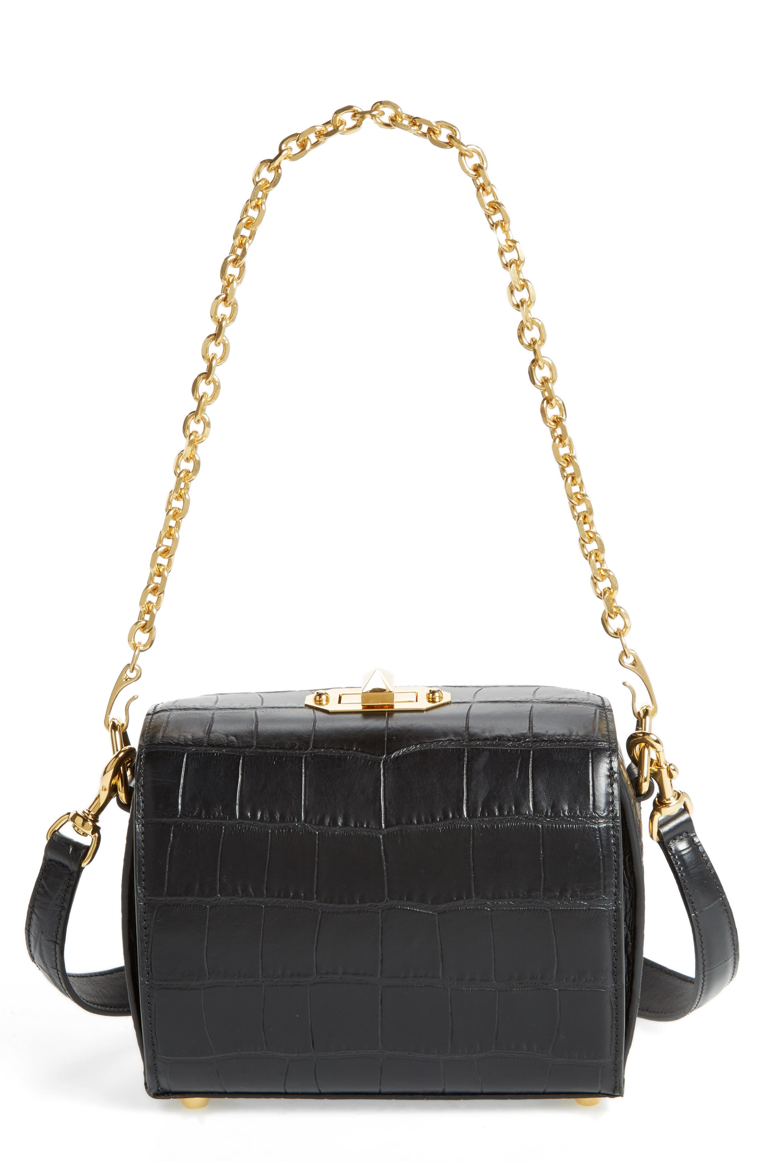 Box Bag 19 Croc Embossed Leather Bag,                             Main thumbnail 1, color,                             Black