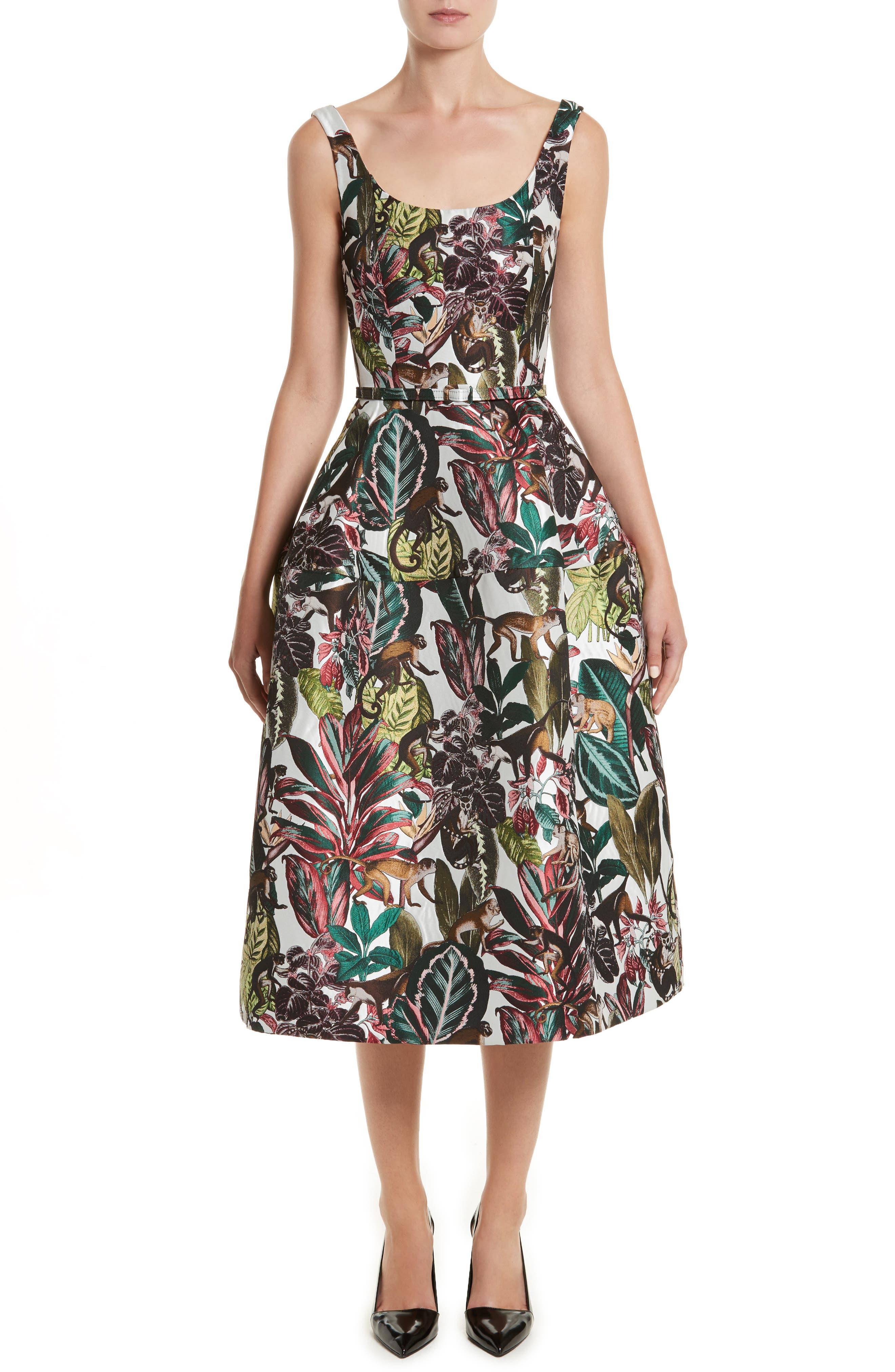 Jungle Jacquard Dress,                             Main thumbnail 1, color,                             White Multi