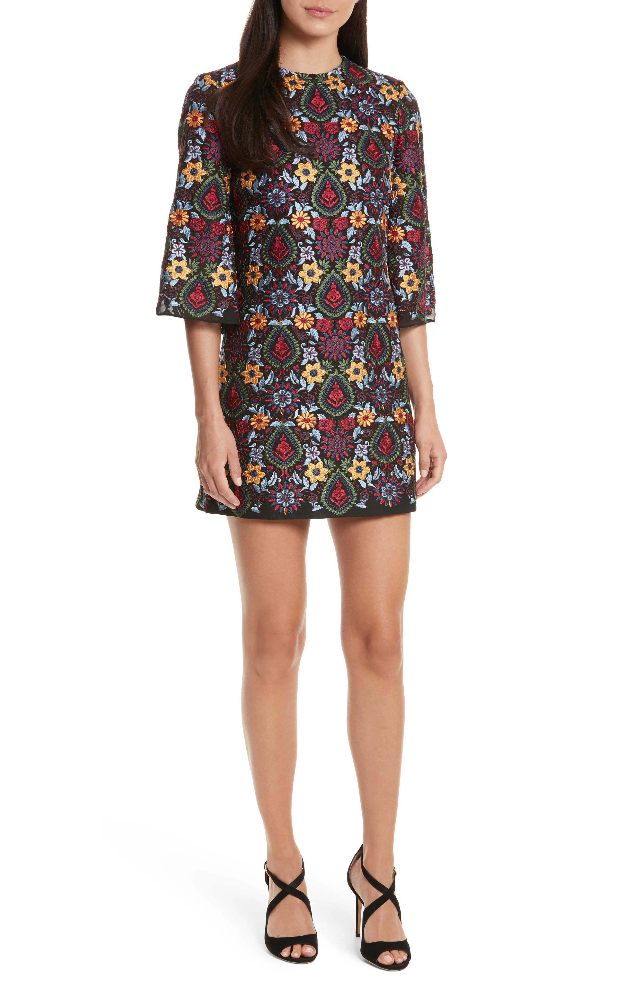 Coley Embroidered Bell Sleeve Dress,                             Main thumbnail 1, color,                             Black Multi