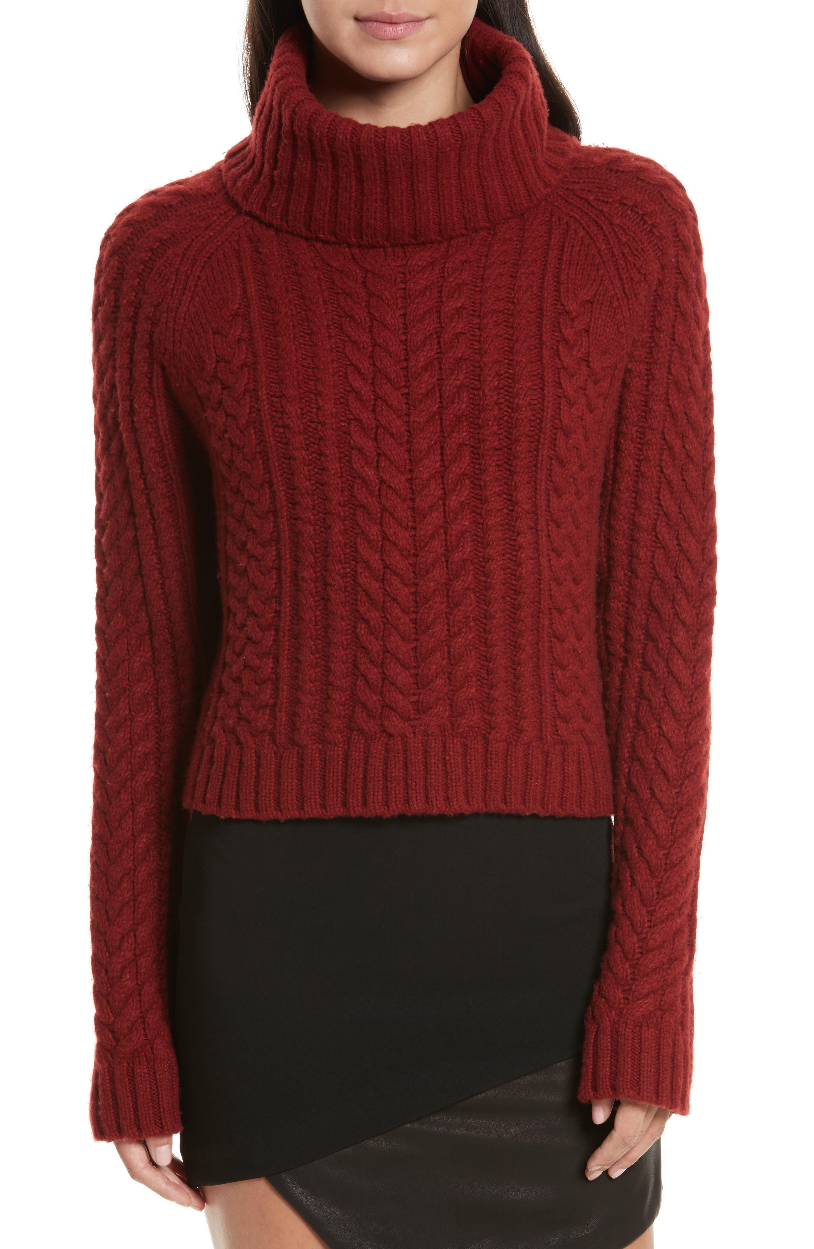 Tobin Cable Knit Crop Turtleneck Sweater,                             Main thumbnail 1, color,                             Bordeaux