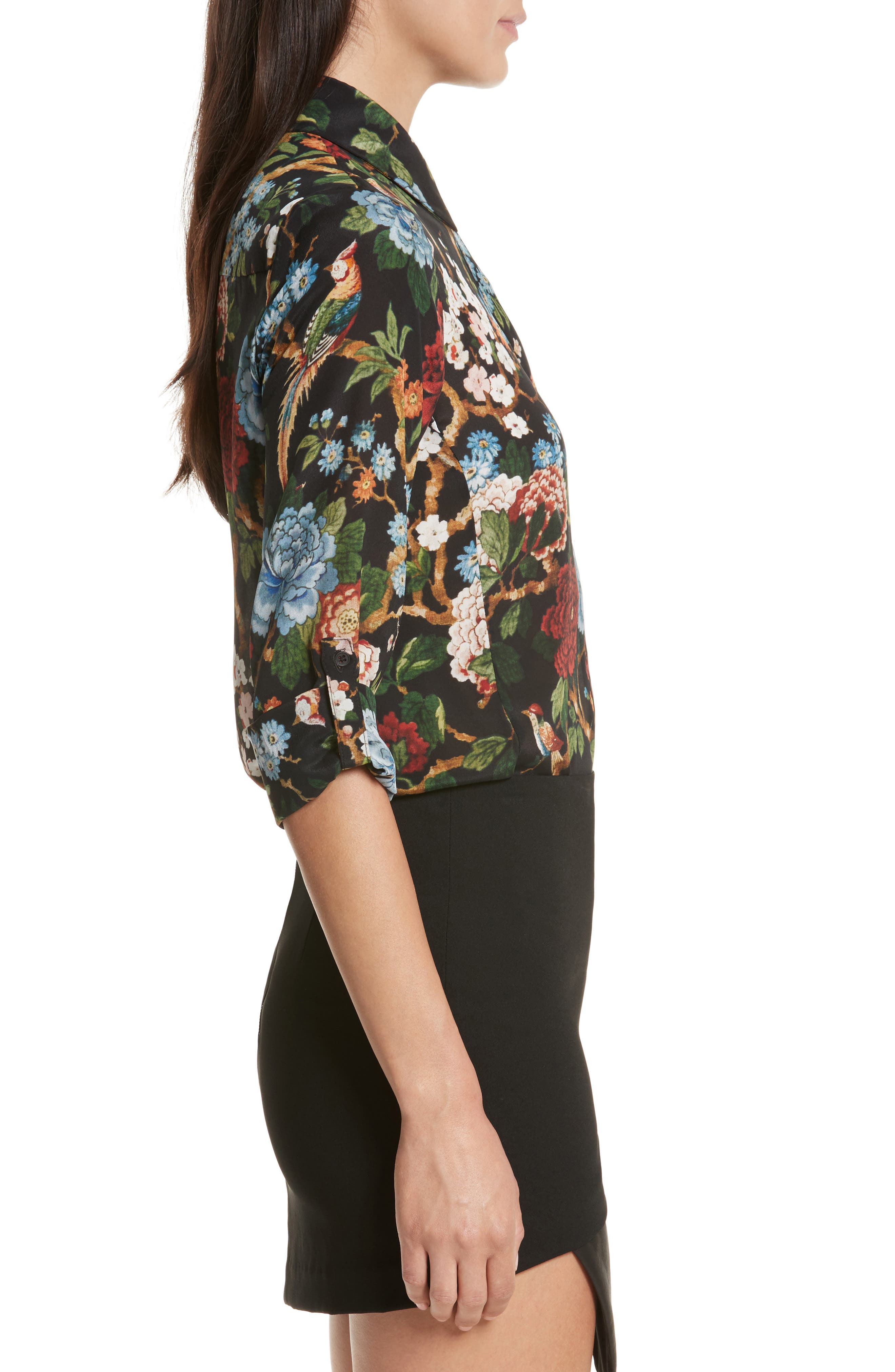 Alternate Image 3  - Alice + Olivia Cal Print Silk Shirt