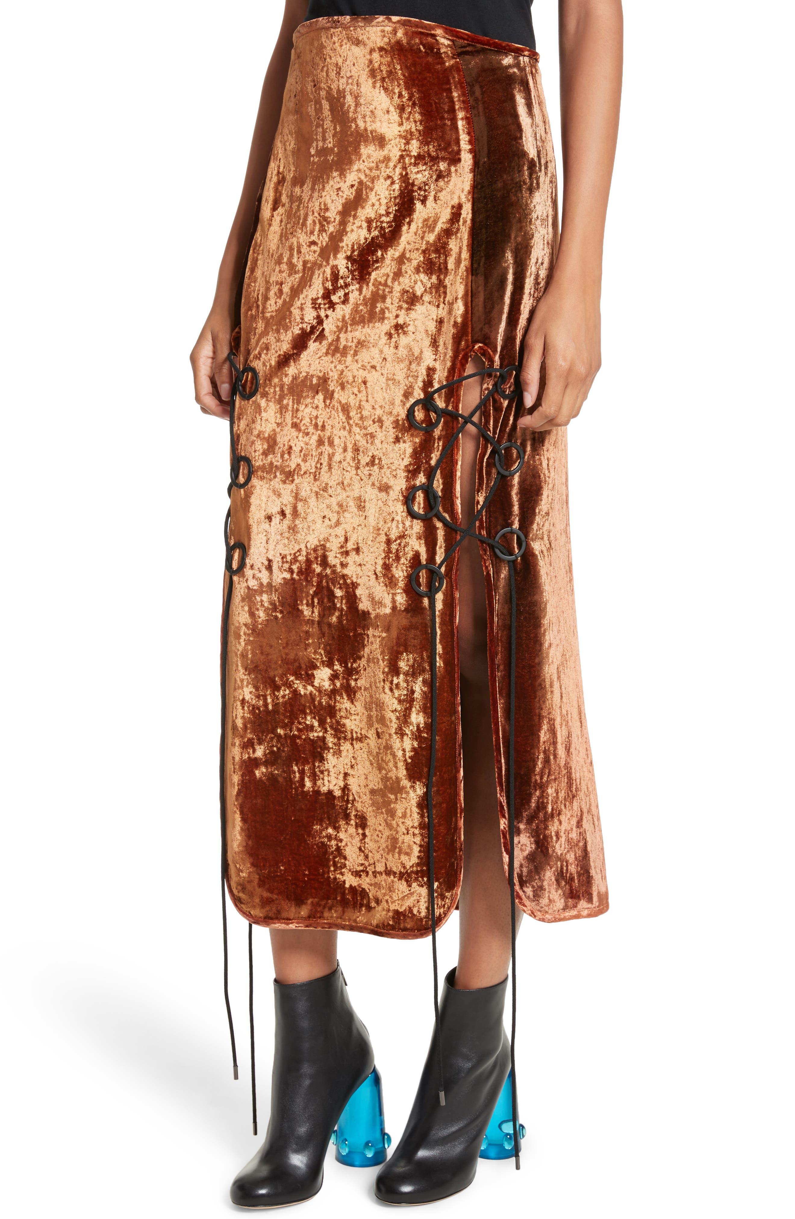 Alternate Image 4  - Ellery The Blues Lace Up Crushed Velvet Midi Skirt