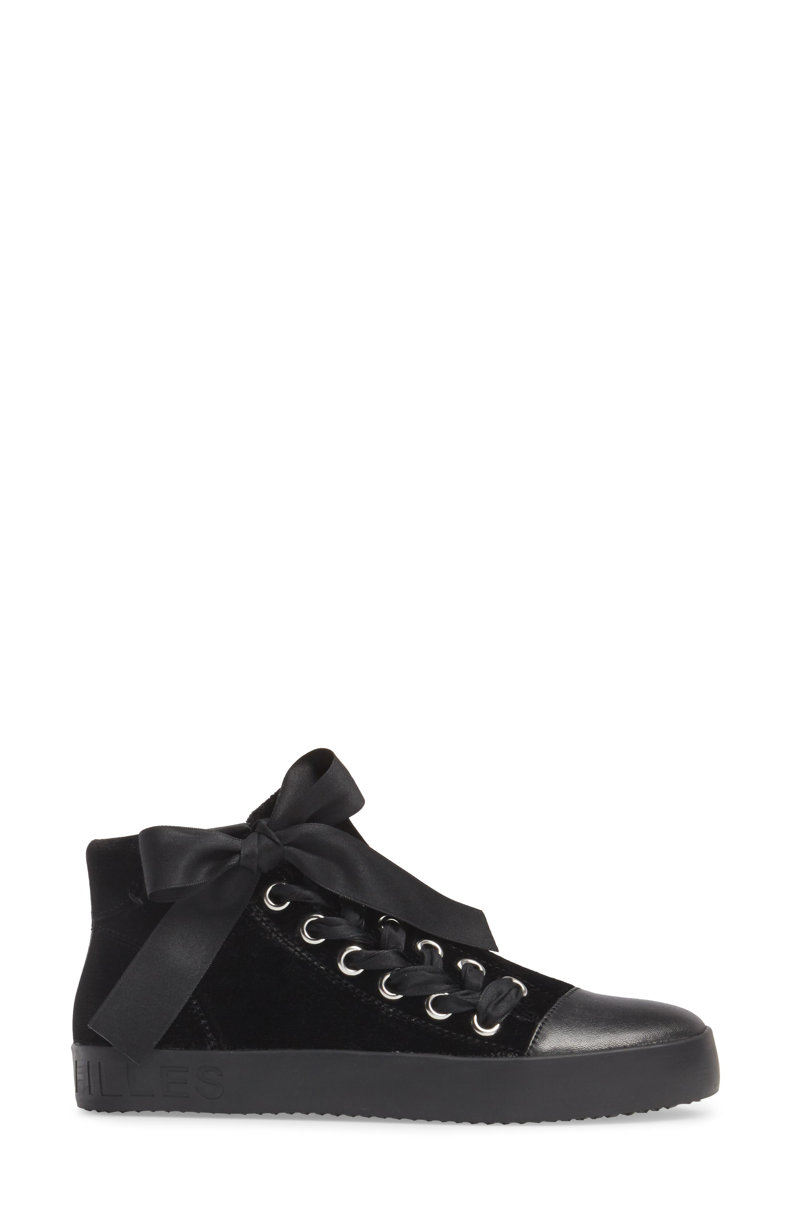 Valerie High Top Sneaker,                             Alternate thumbnail 3, color,                             Black Fabric\Leather
