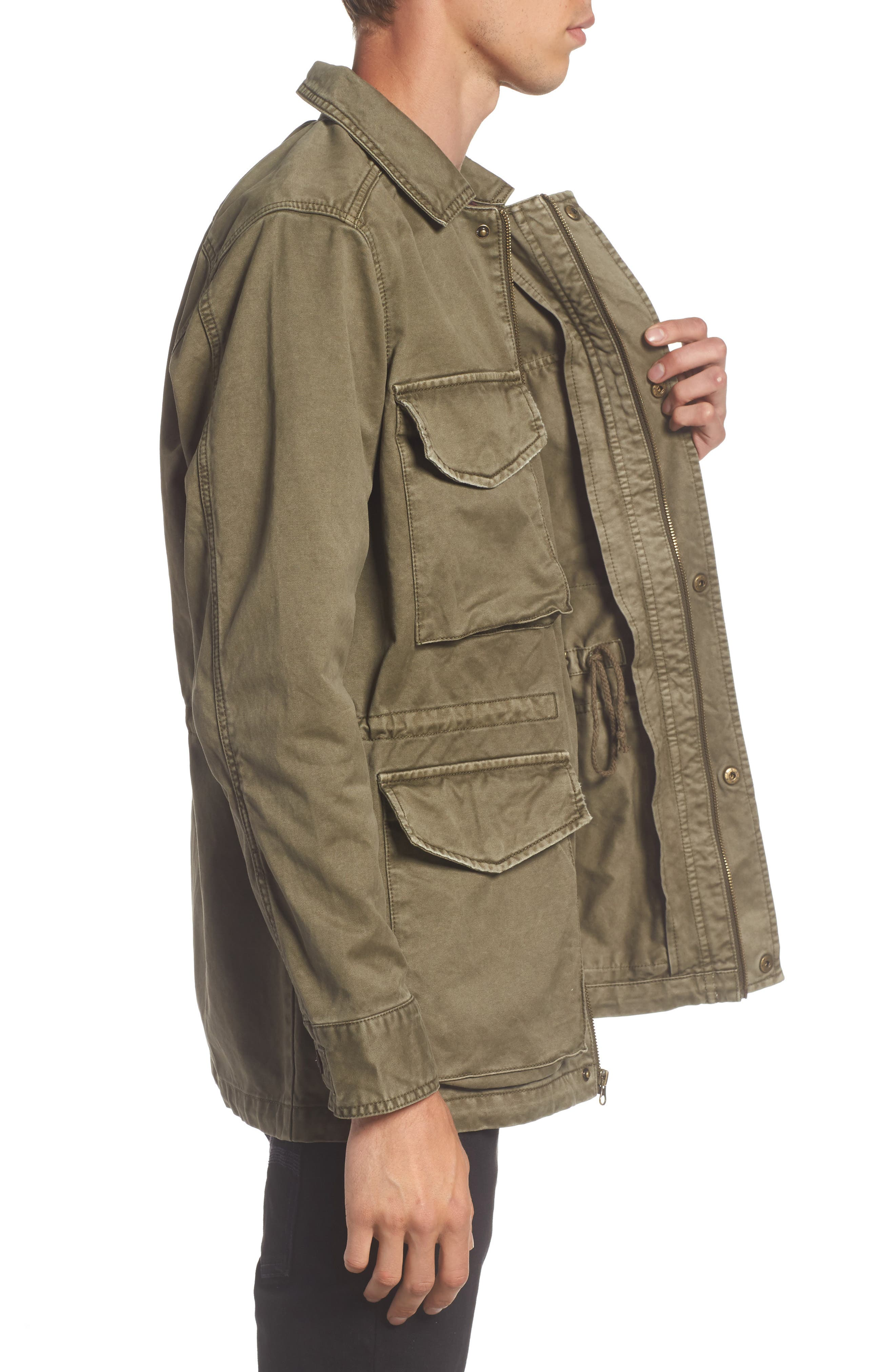 Waxed Cotton Field Jacket,                             Alternate thumbnail 3, color,                             Olive Grove