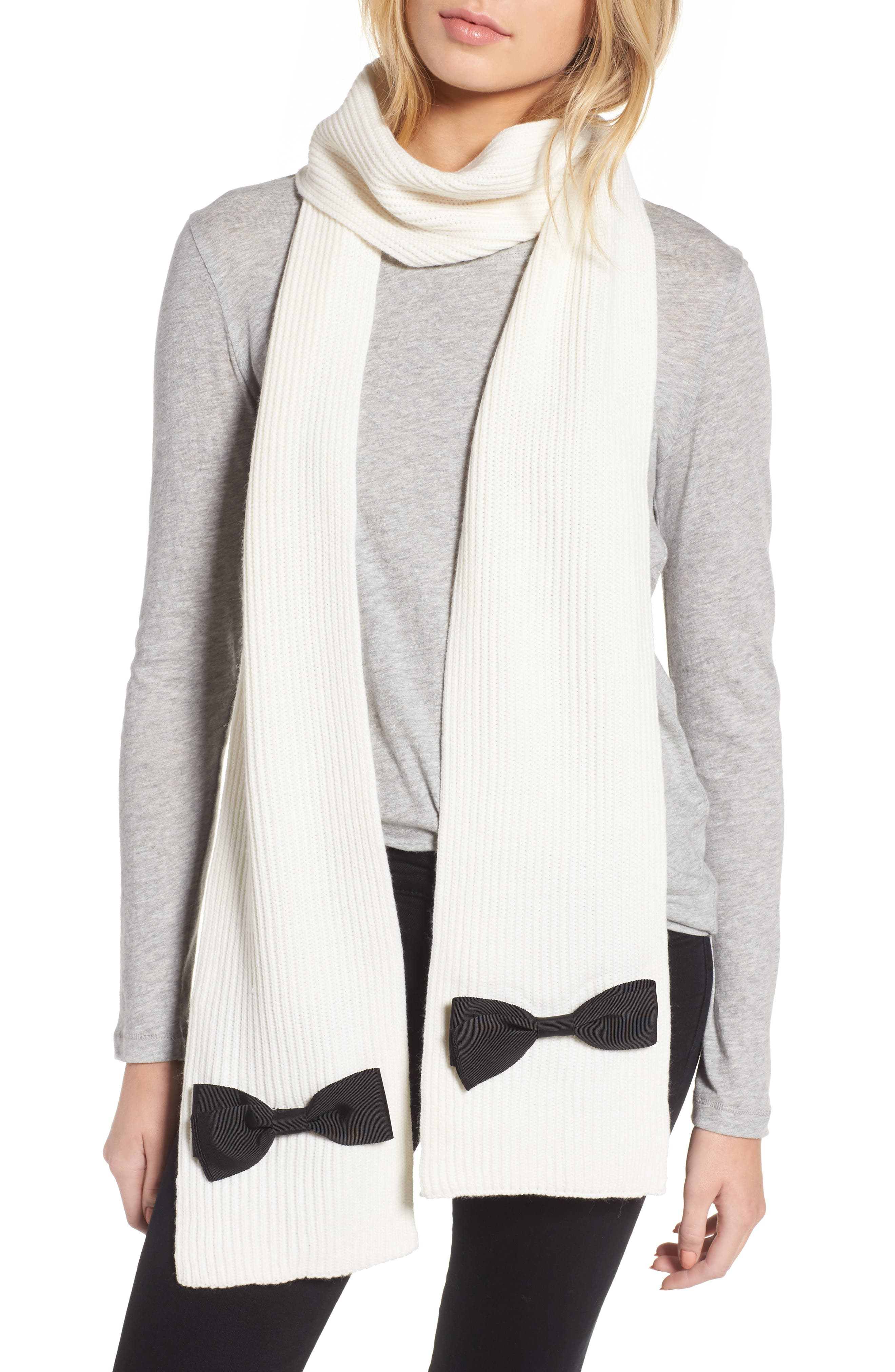 grosgrain bow muffler scarf,                         Main,                         color, Cream