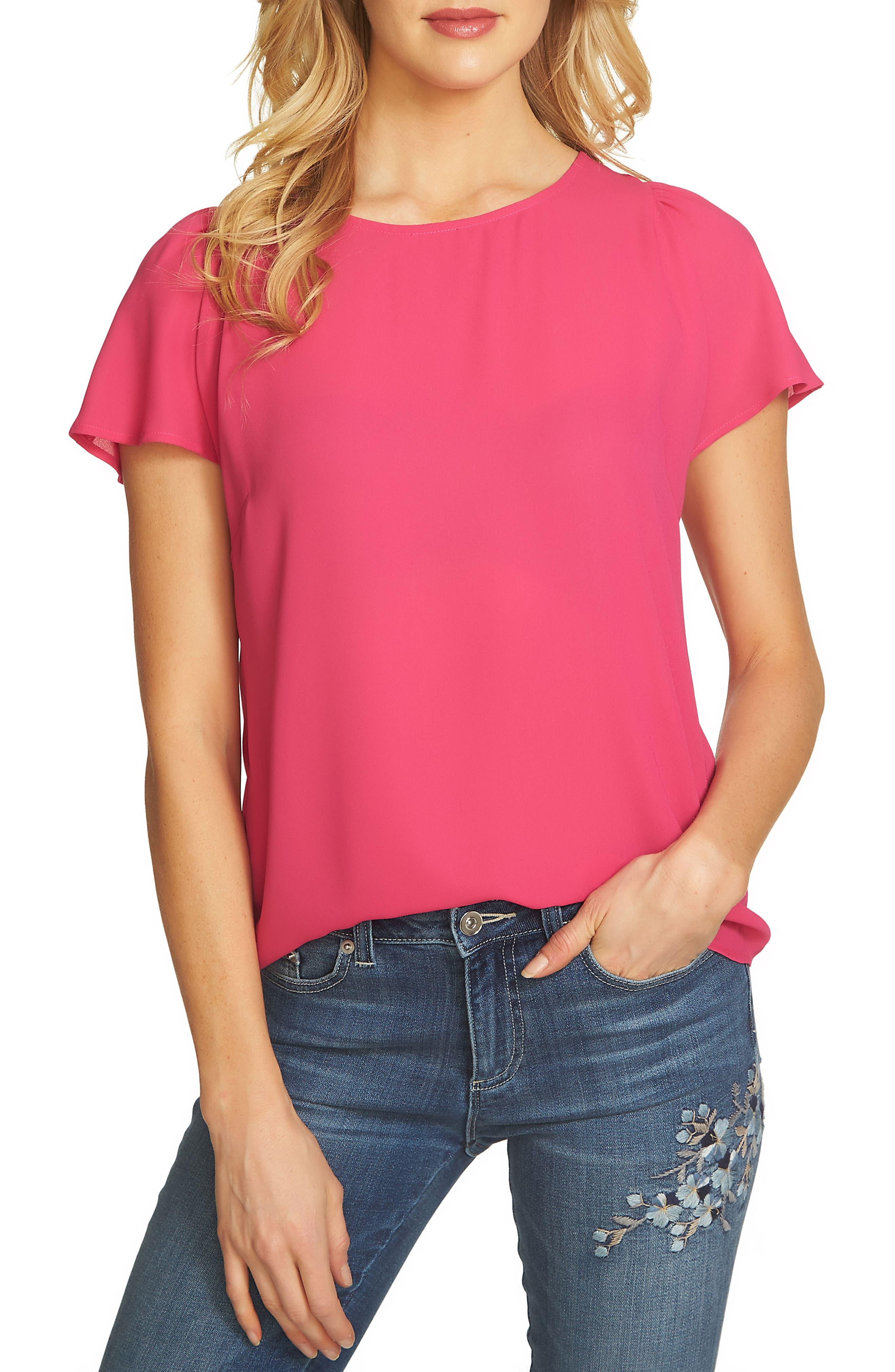 Flutter Sleeve Blouse,                             Main thumbnail 1, color,                             Vibrant Cerise