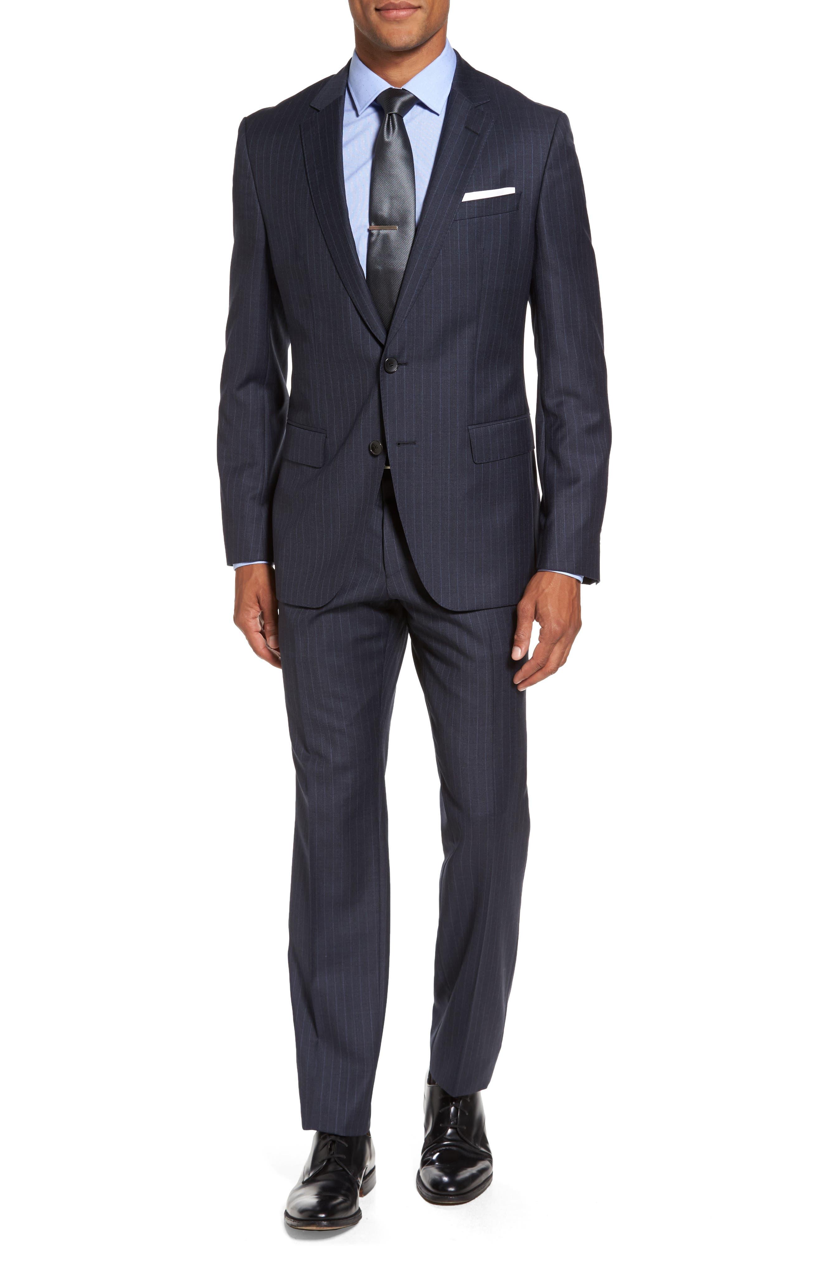 BOSS Huge/Genius Trim Fit Stripe Wool Suit