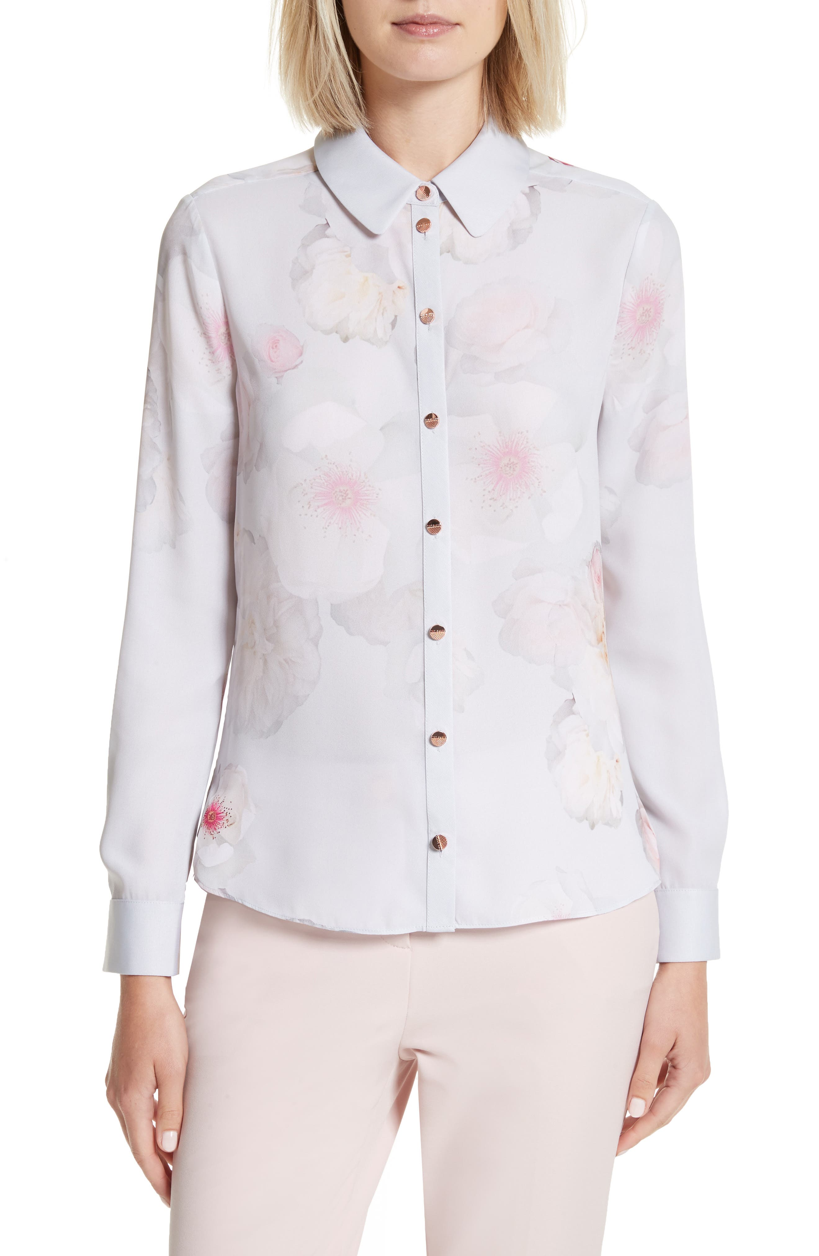 Relar Chelsea Grey Flower Print Shirt,                             Main thumbnail 1, color,                             Mid Grey