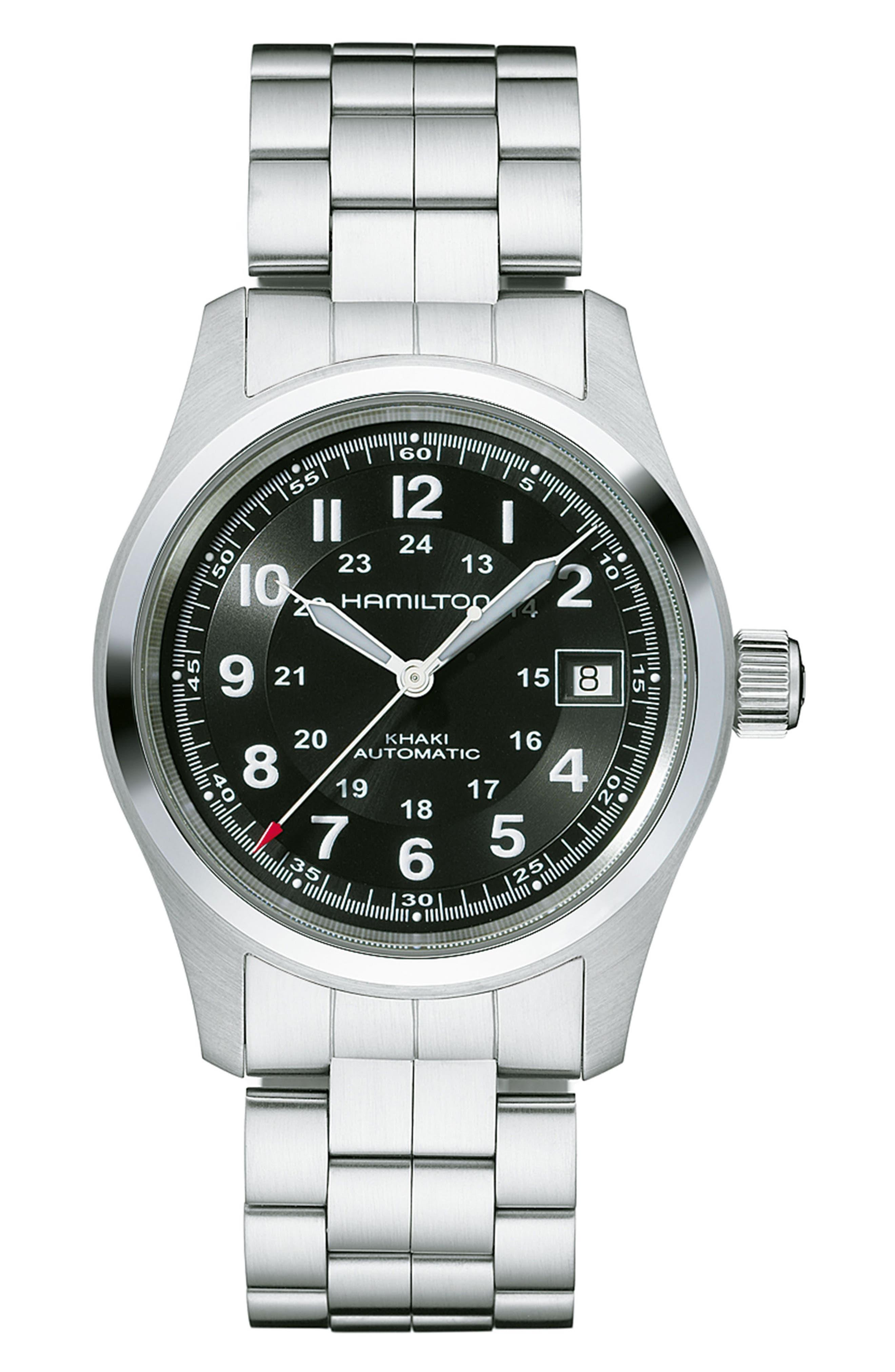 Khaki Field Automatic Bracelet Watch, 38mm,                             Main thumbnail 1, color,                             Silver/ Black/ Silver