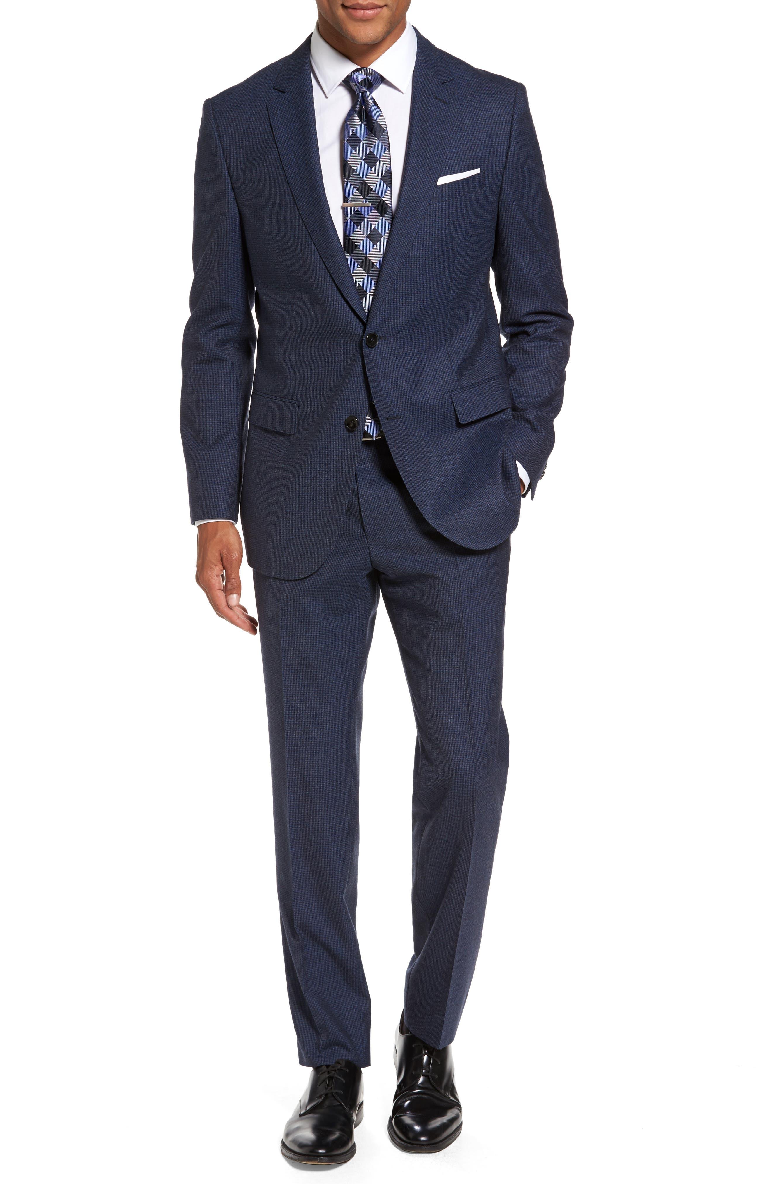 BOSS Novan/Ben Trim Fit Houndstooth Wool Suit