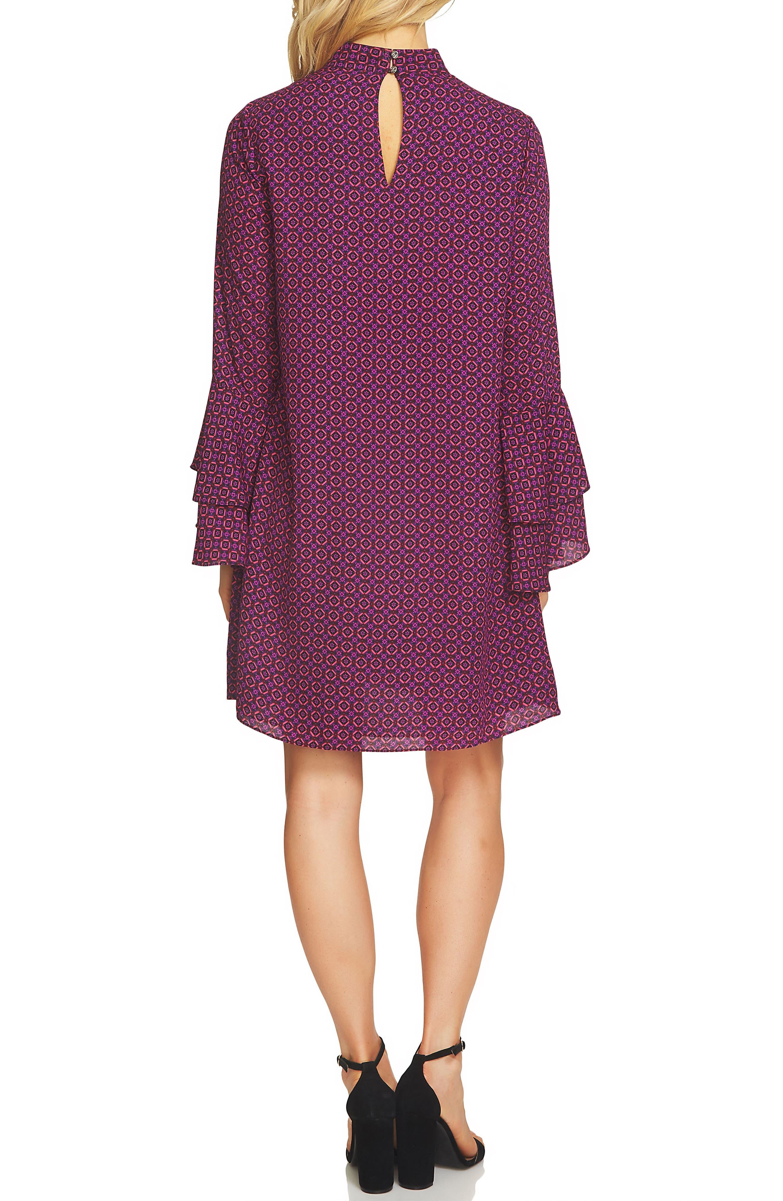Choker Bell Sleeve Dress,                             Alternate thumbnail 2, color,                             Vibrant Cerise