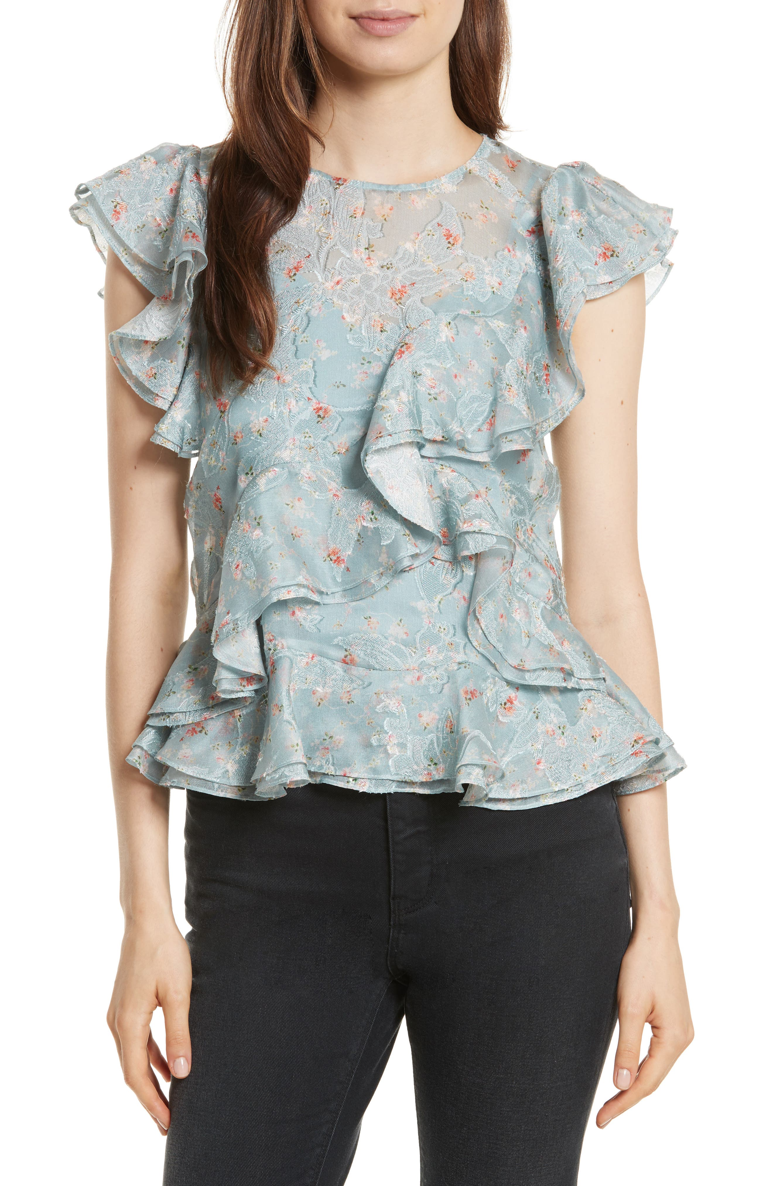 Serra Organza Top,                             Main thumbnail 1, color,                             Mint Combo