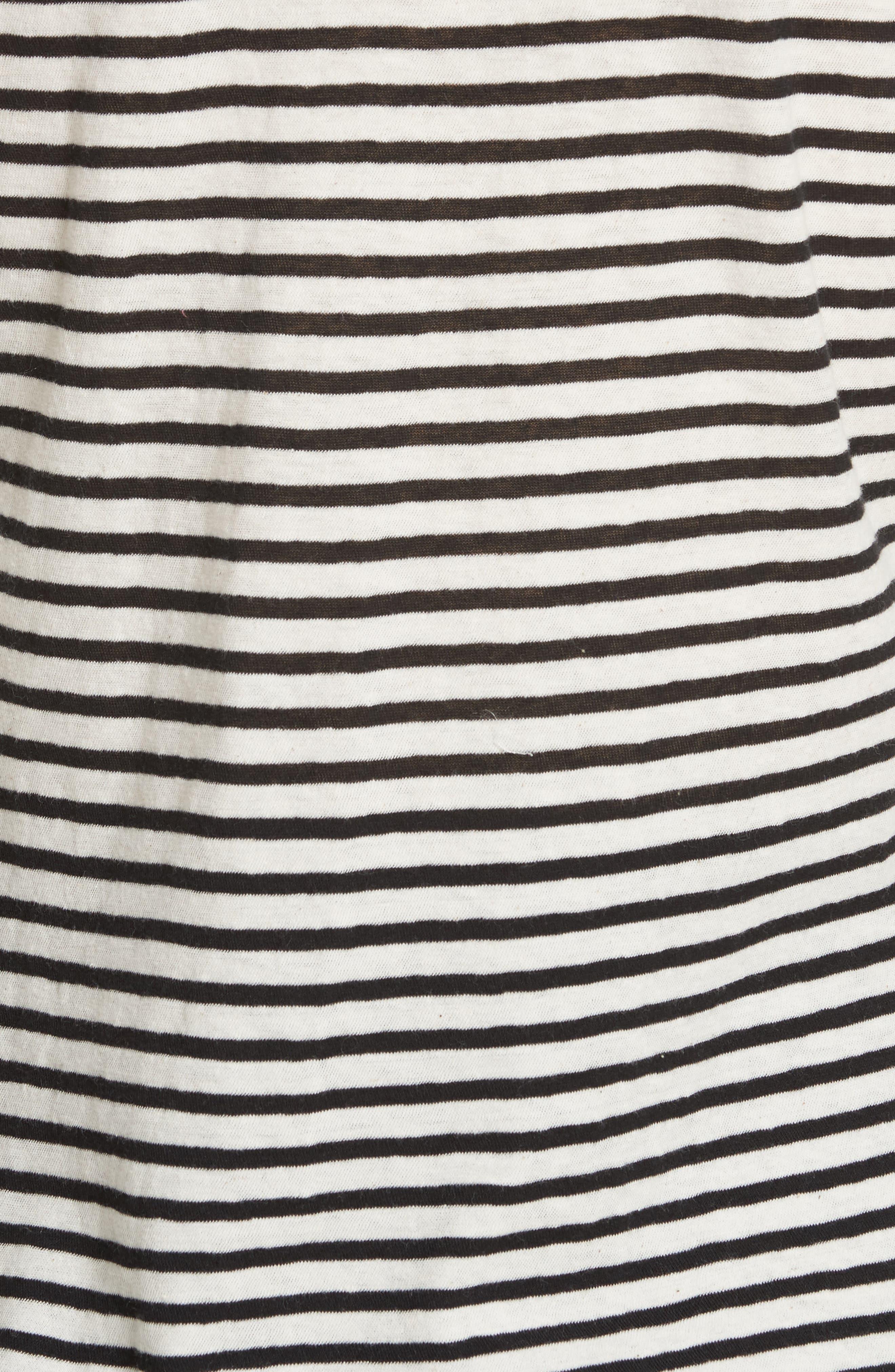 Long Sleeve Stripe Tee,                             Alternate thumbnail 5, color,                             Chalk/ Black