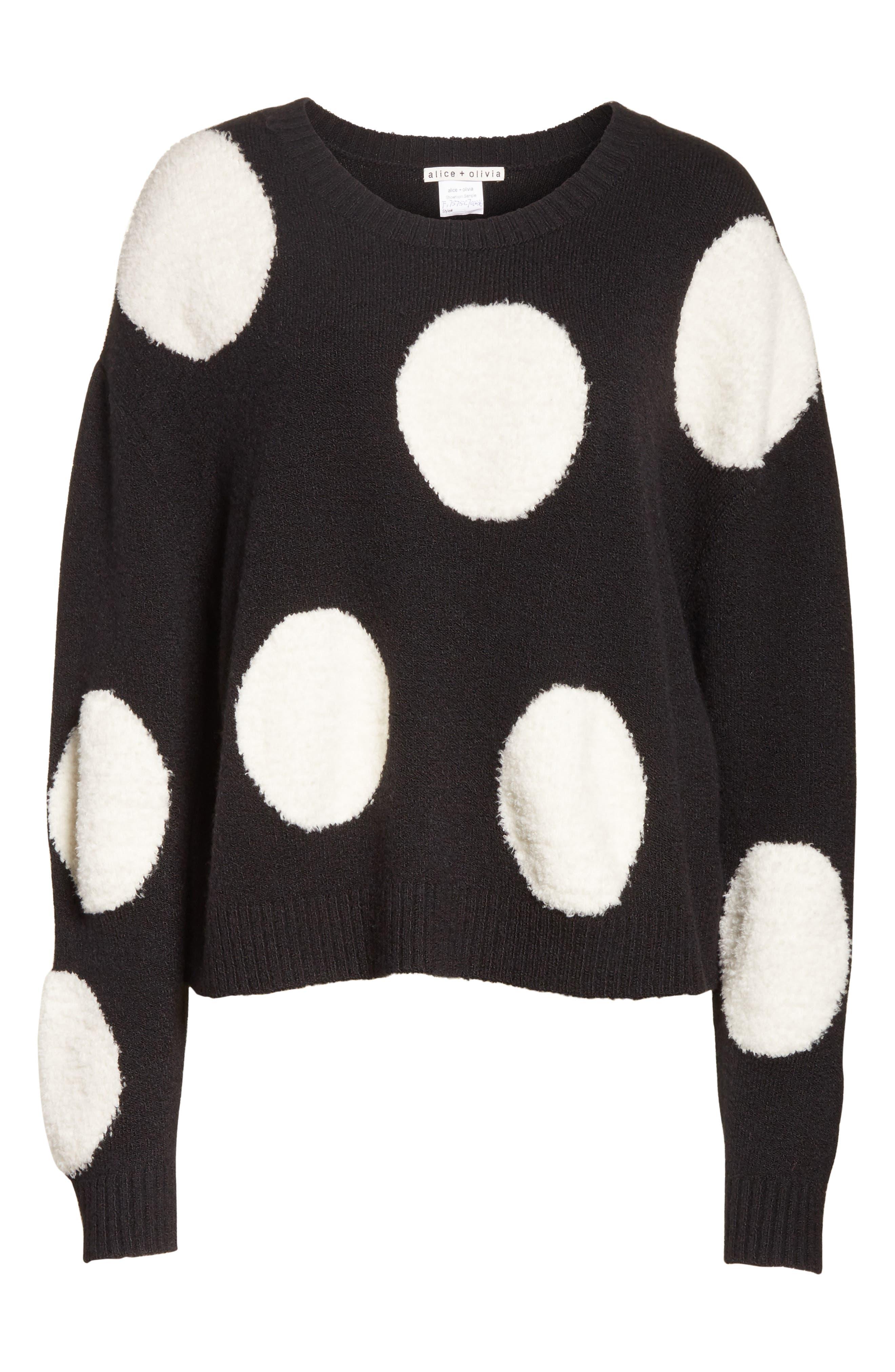 Polka Dot Boxy Sweater,                             Alternate thumbnail 6, color,                             Black/ White