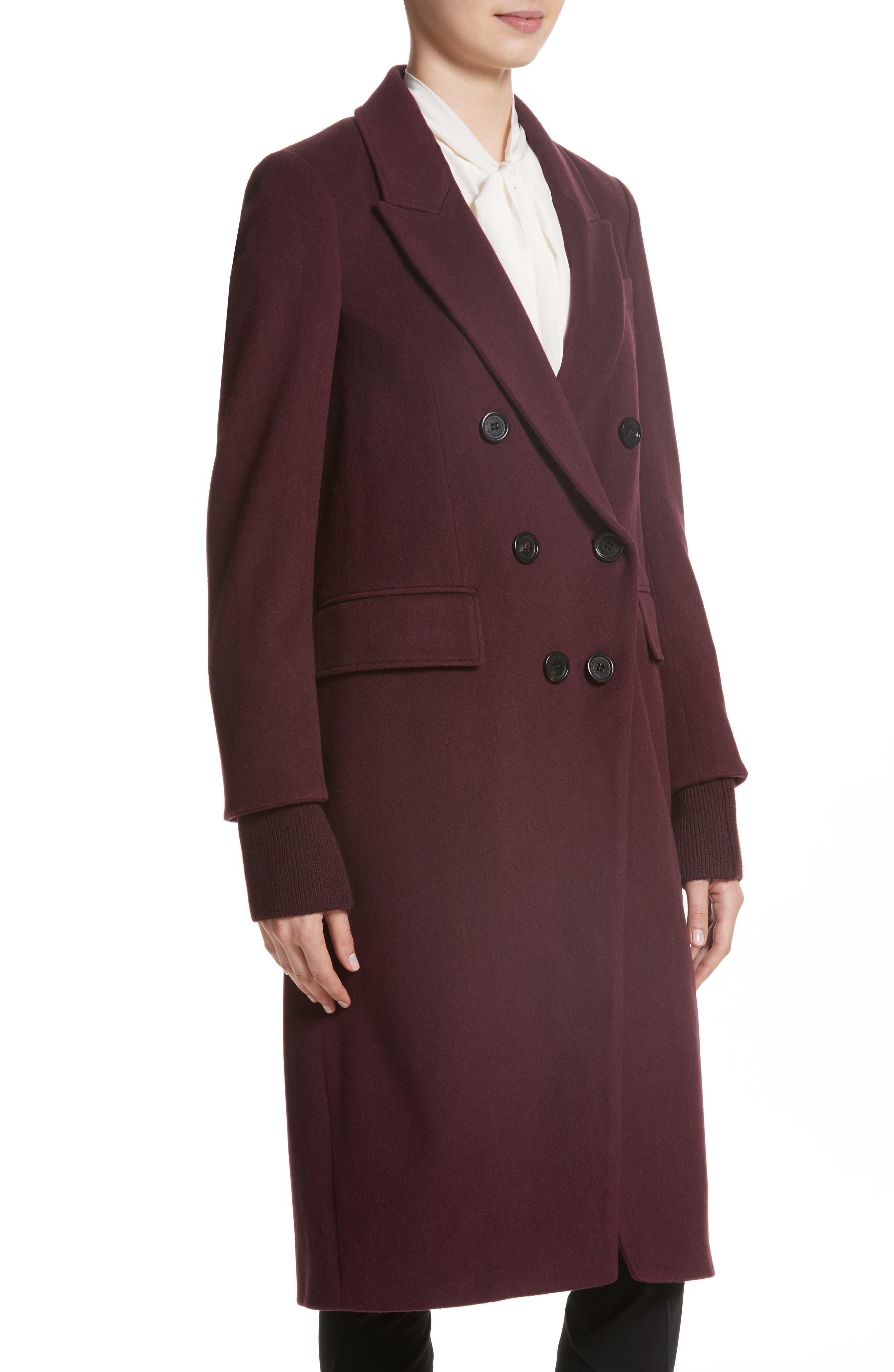 Cairndale Knit Trim Cashmere Coat,                             Alternate thumbnail 6, color,                             Black Currant