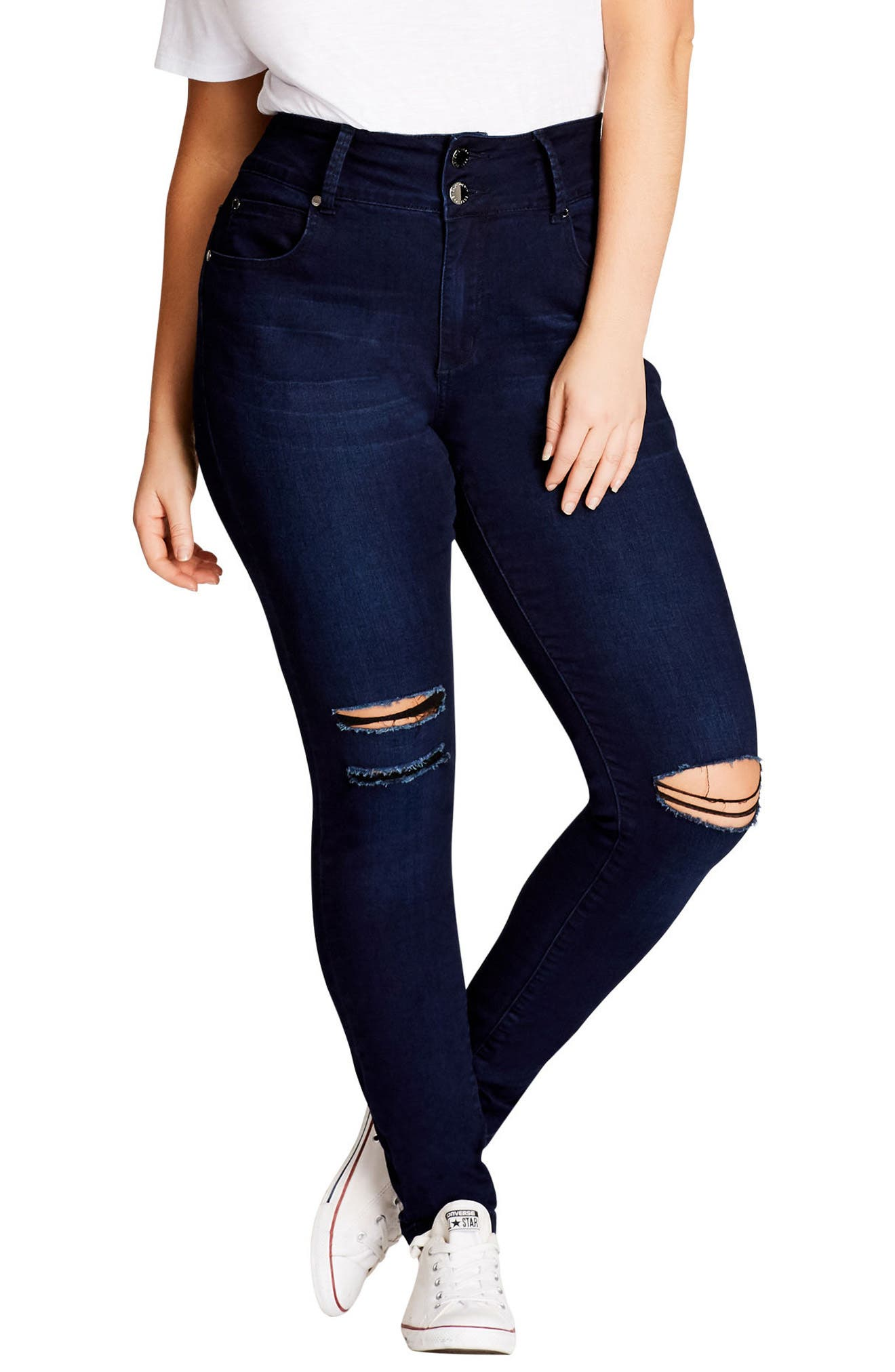 City Chic Harley Ripped High Rise Skinny Jeans (Plus Size)