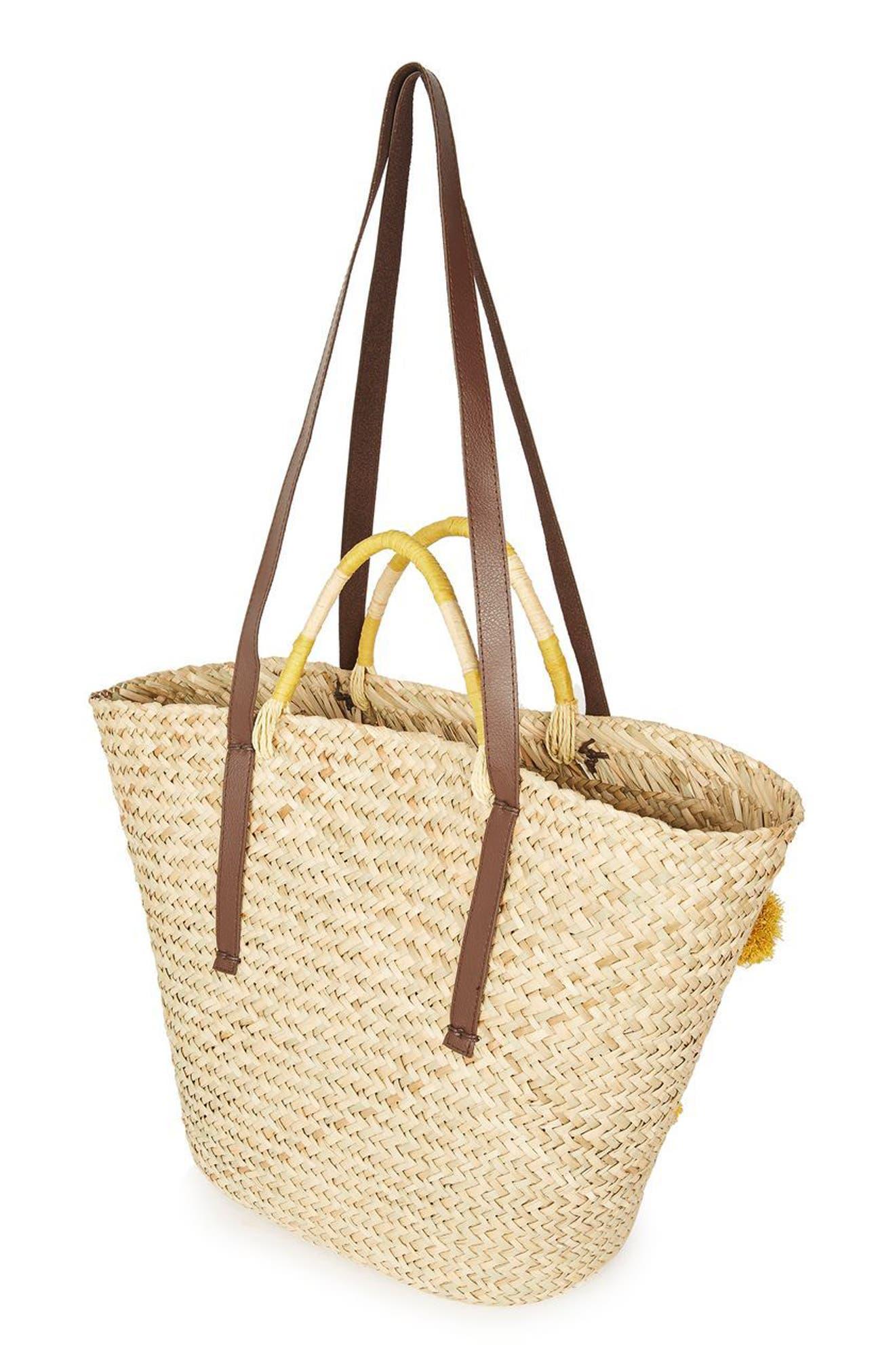 Alternate Image 3  - Topshop Pompom Straw Tote Bag