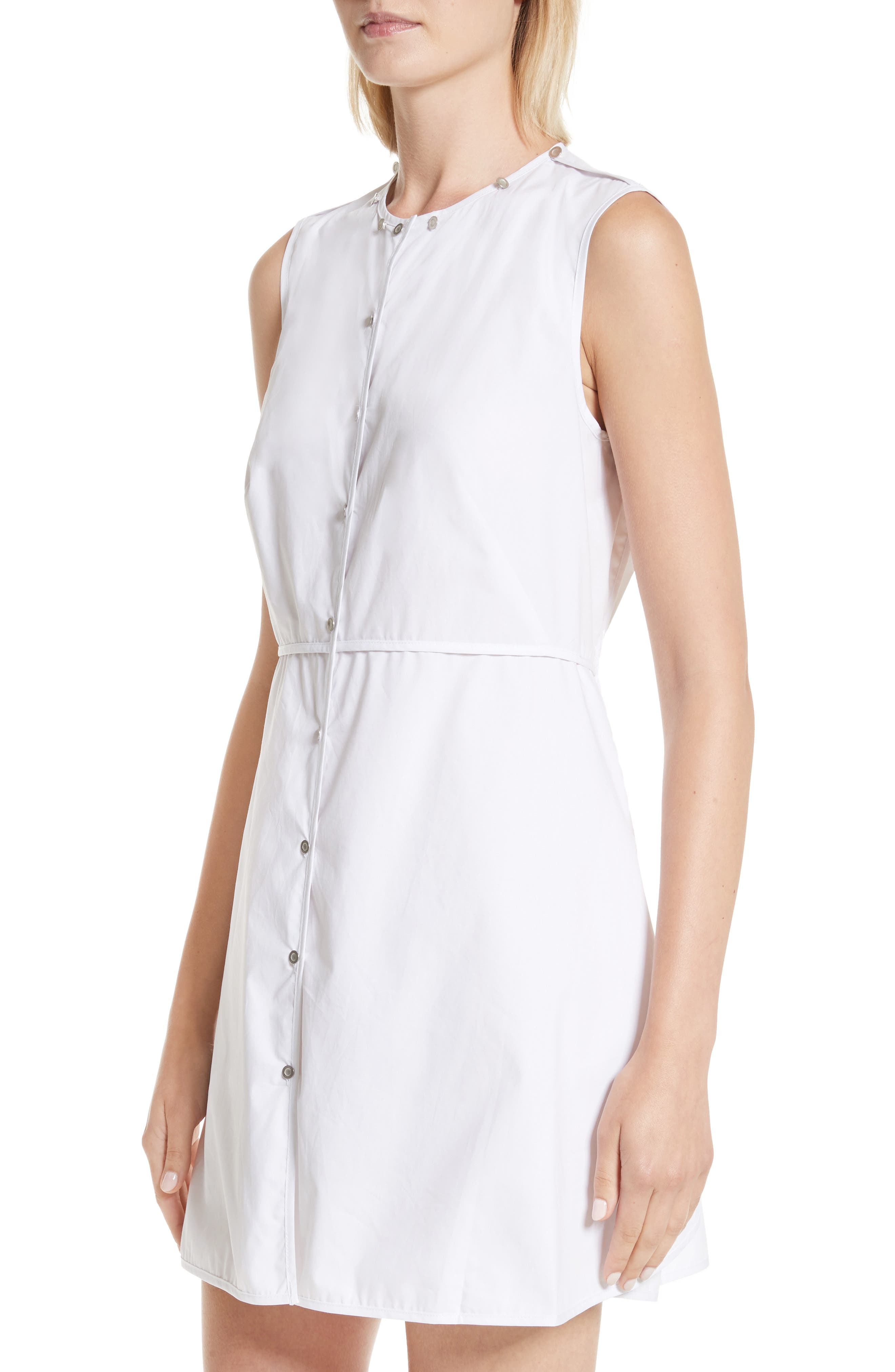 Transformer Poplin Dress with Detachable Embroidered Collar,                             Alternate thumbnail 4, color,                             White