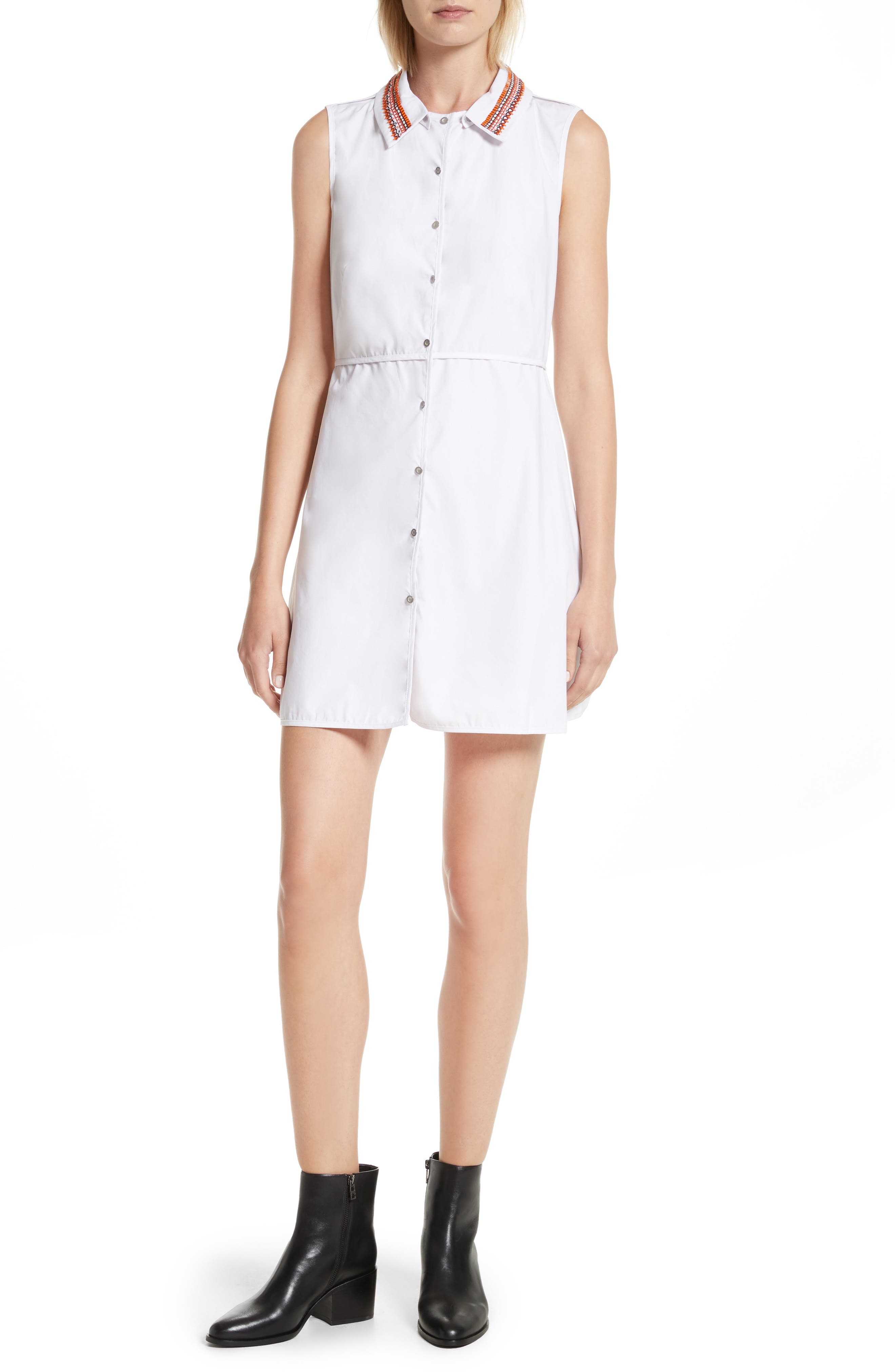 Transformer Poplin Dress with Detachable Embroidered Collar,                         Main,                         color, White