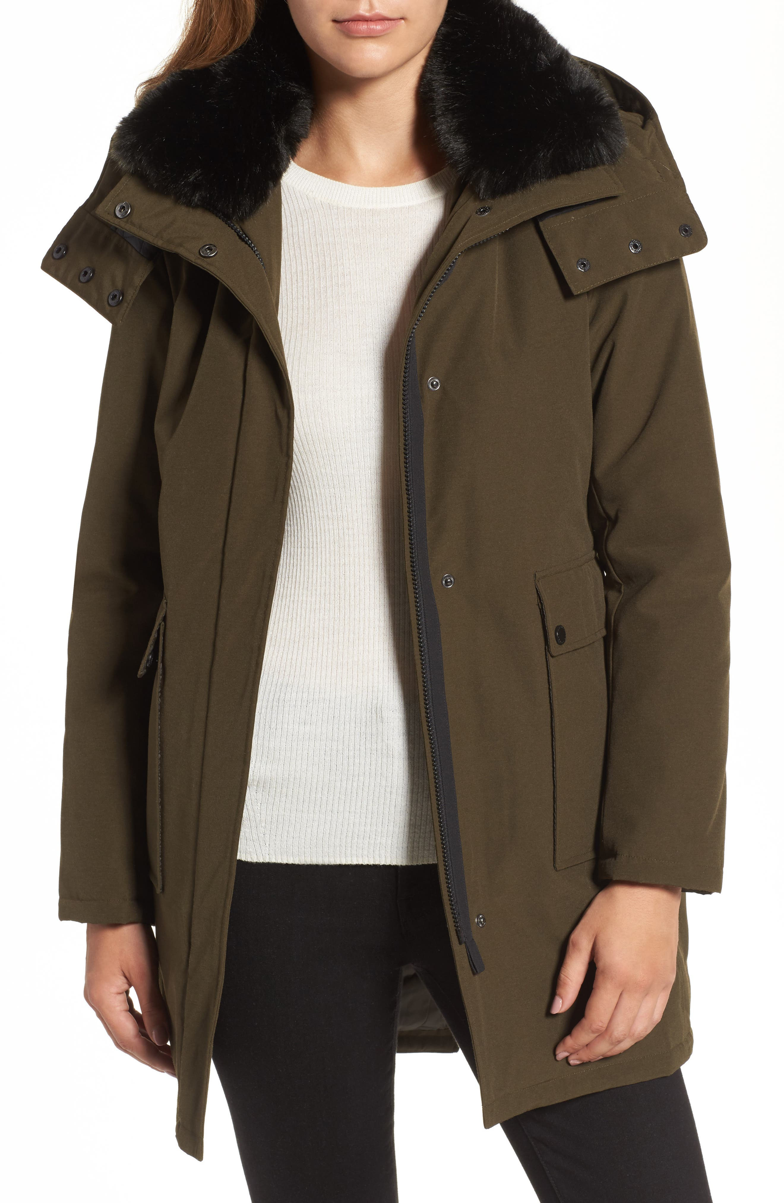 Hooded Anorak with Detachable Faux Fur Collar,                         Main,                         color, Russian Pine