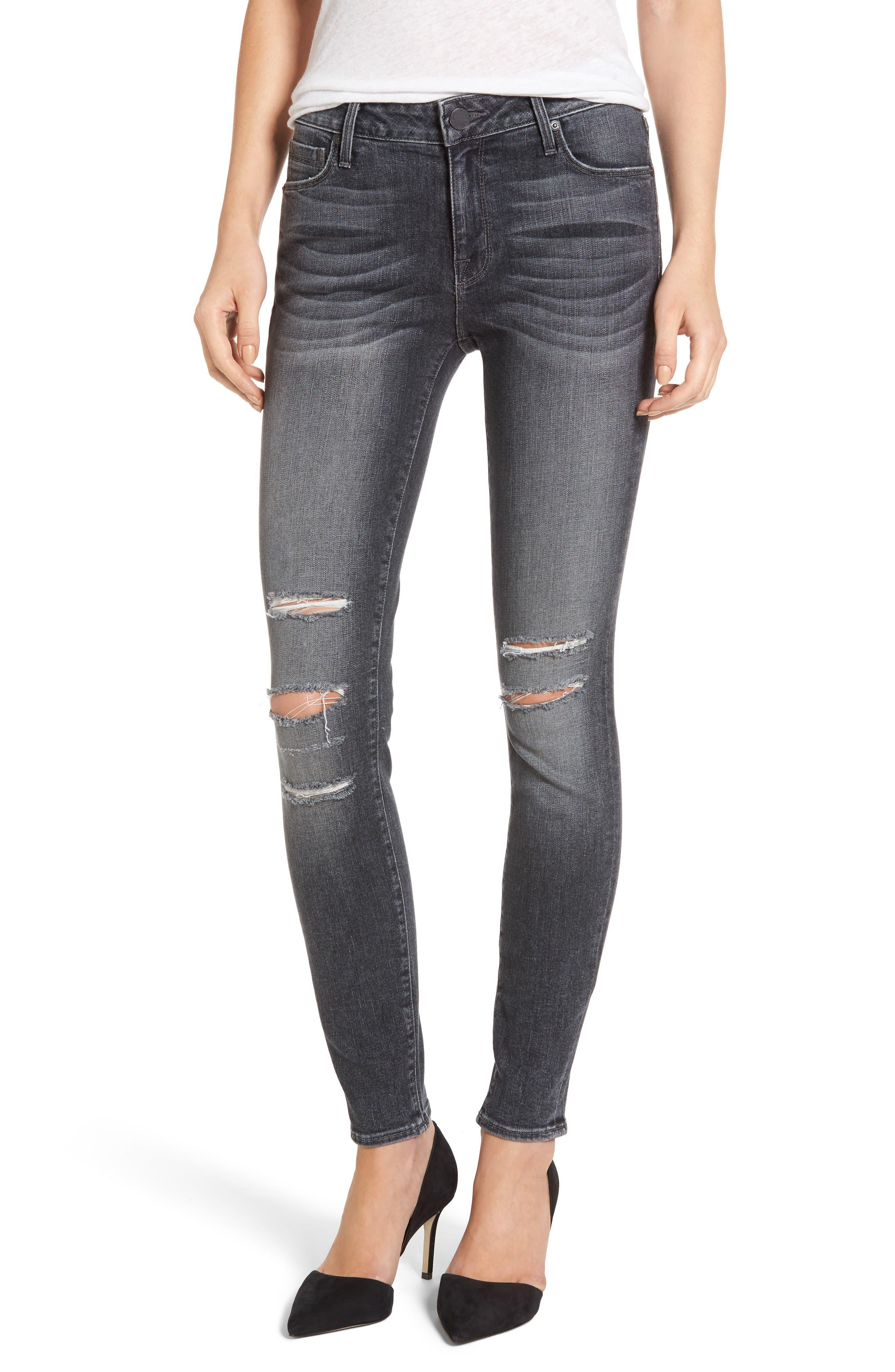 Kam Mid-Rise Skinny Jeans,                             Main thumbnail 1, color,                             Grey Matter