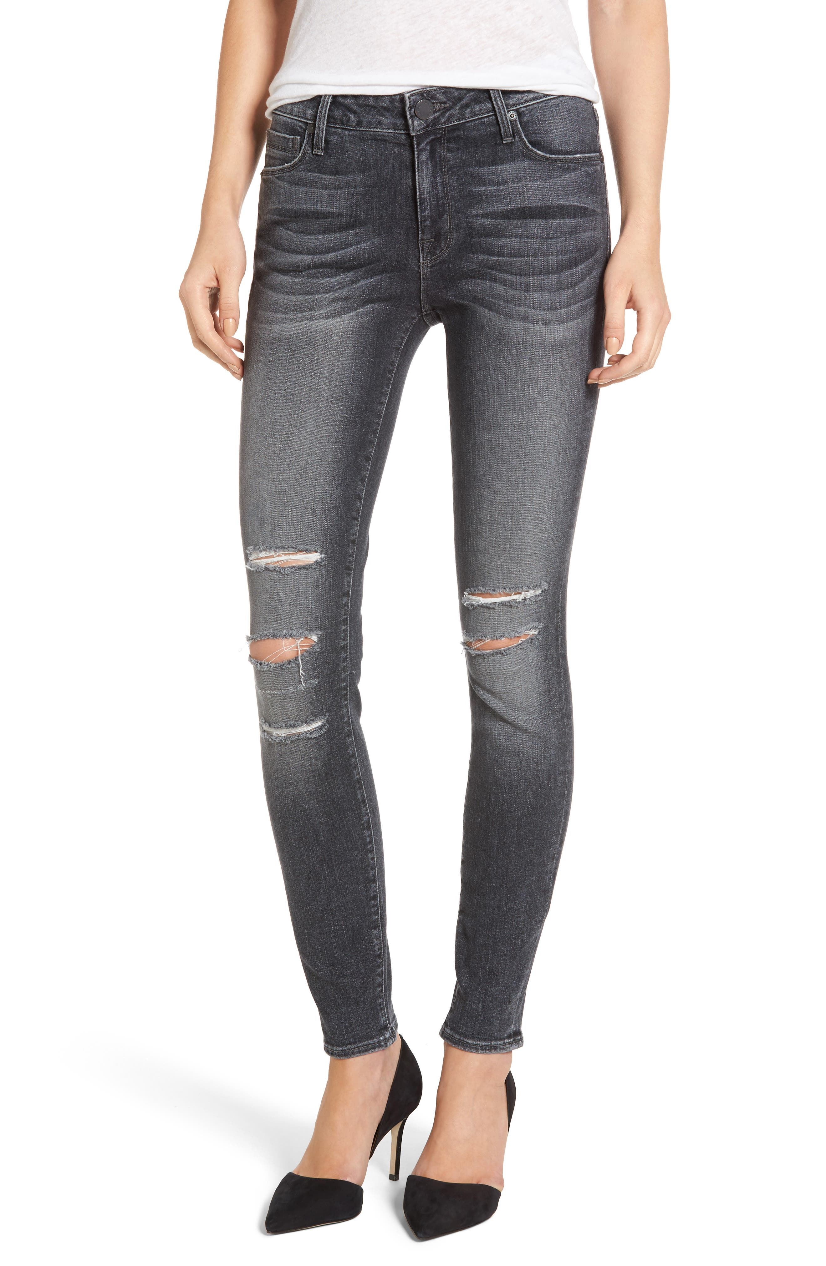 Main Image - PARKER SMITH Kam Mid-Rise Skinny Jeans (Grey Matter)
