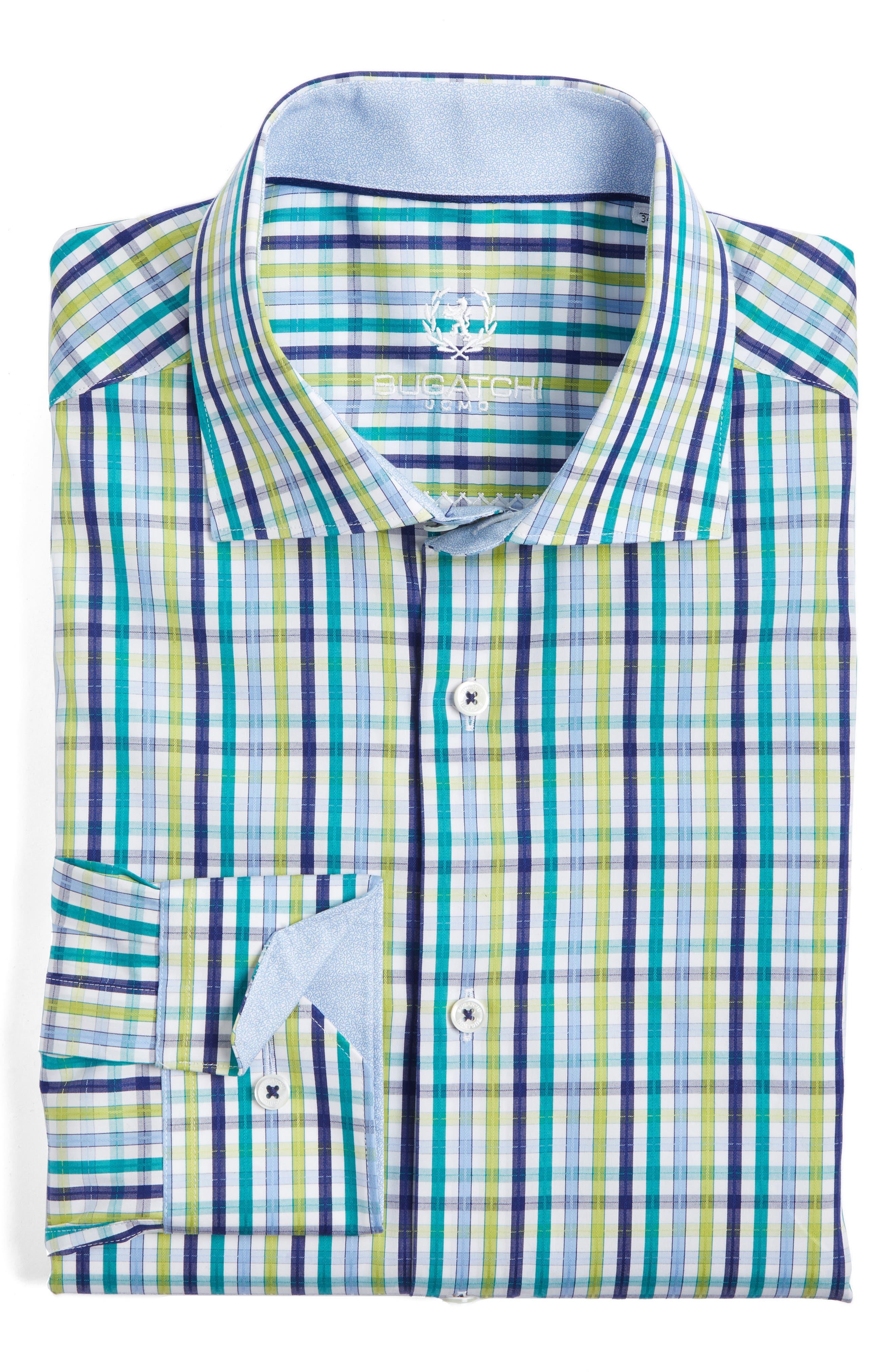 Trim Fit Check Dress Shirt,                         Main,                         color, Emerald