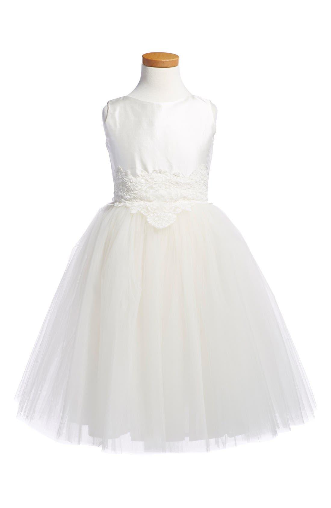 'Enchanting' Sleeveless Taffeta Dress,                             Main thumbnail 1, color,                             Ivory