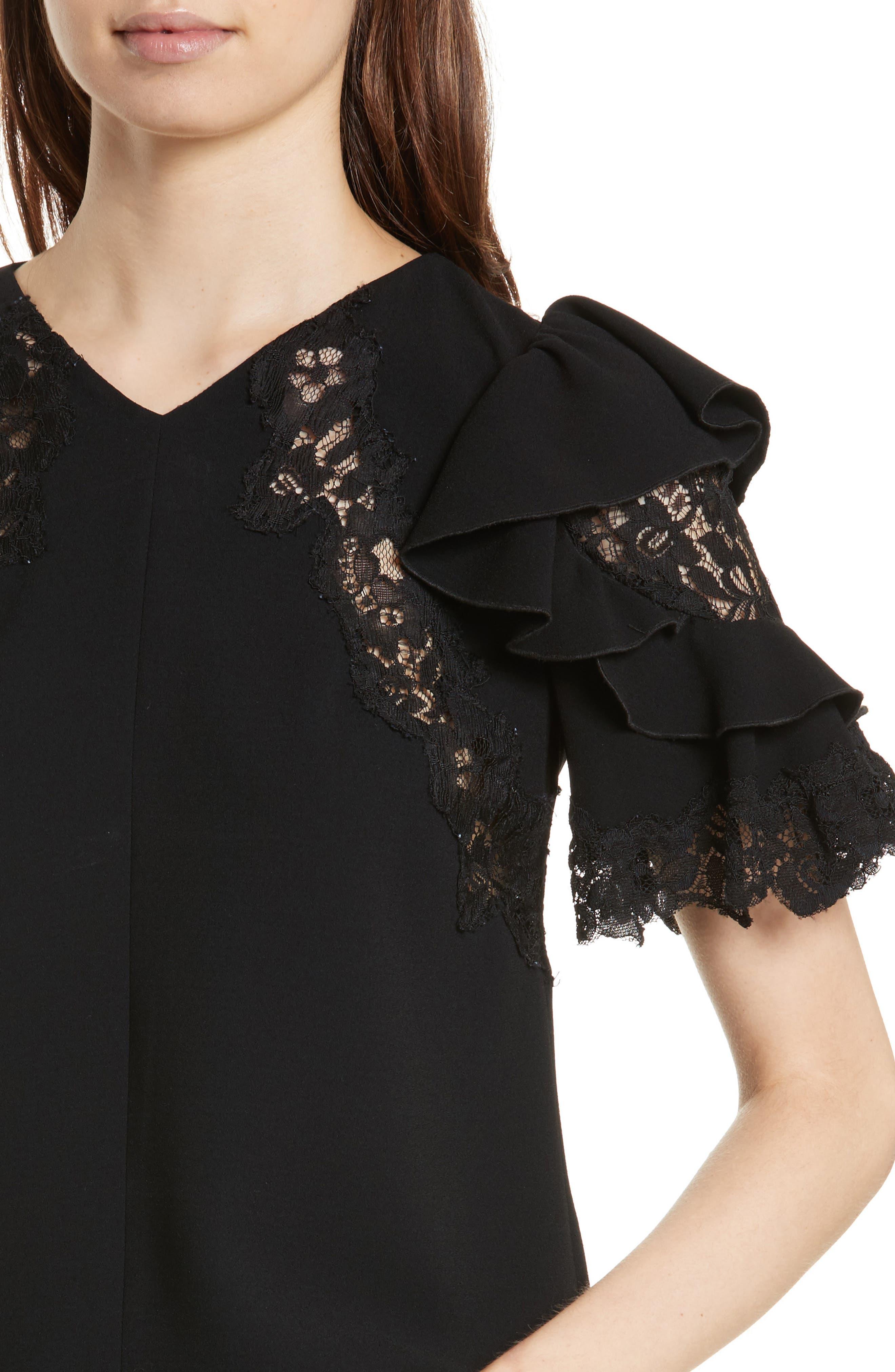 Lace & Crepe Flutter Sleeve Top,                             Alternate thumbnail 4, color,                             Black