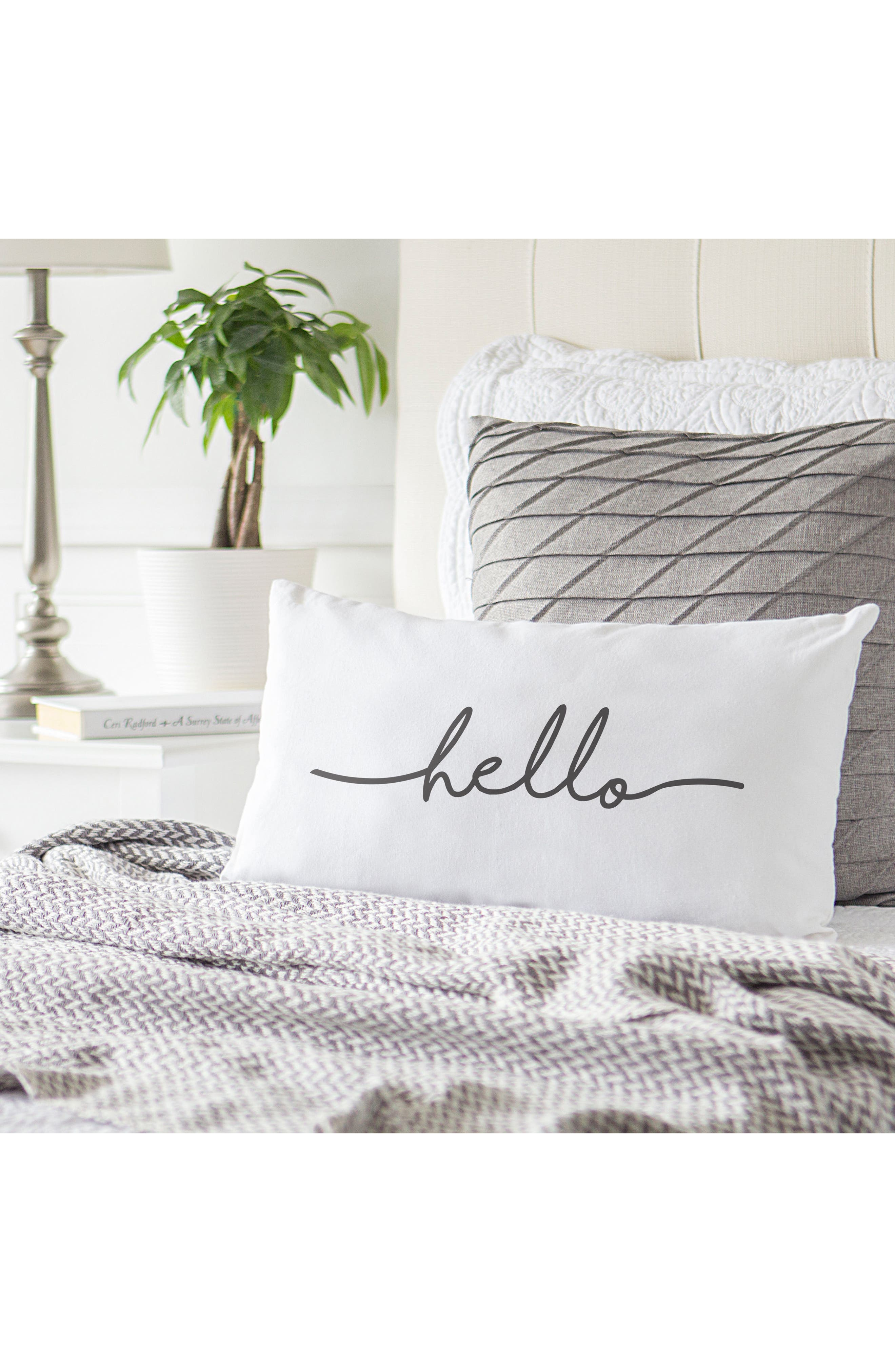 Hello Lumbar Accent Pillow,                             Alternate thumbnail 3, color,                             Grey