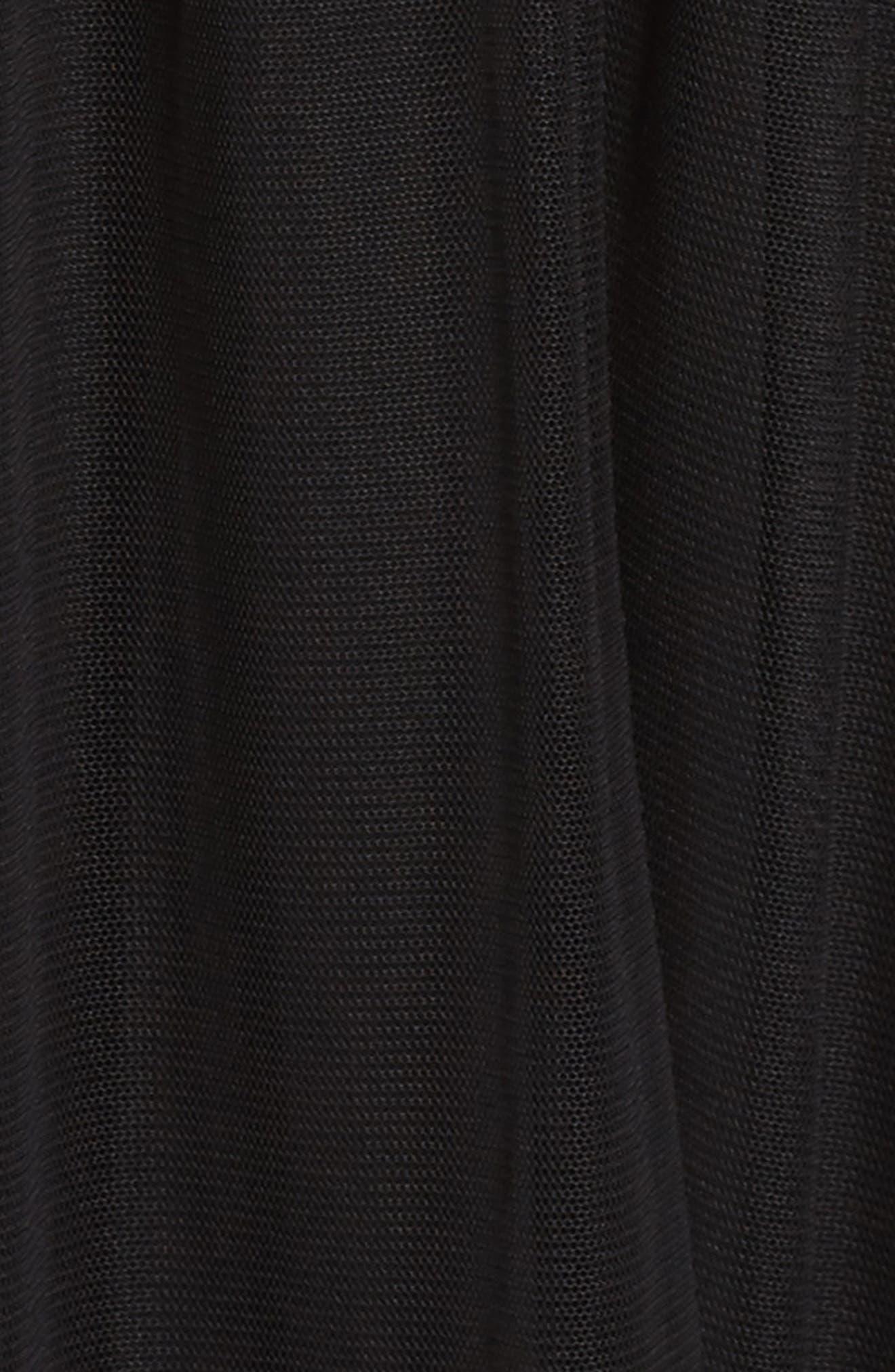 Tulle Fit & Flare Dress,                             Alternate thumbnail 5, color,                             Black
