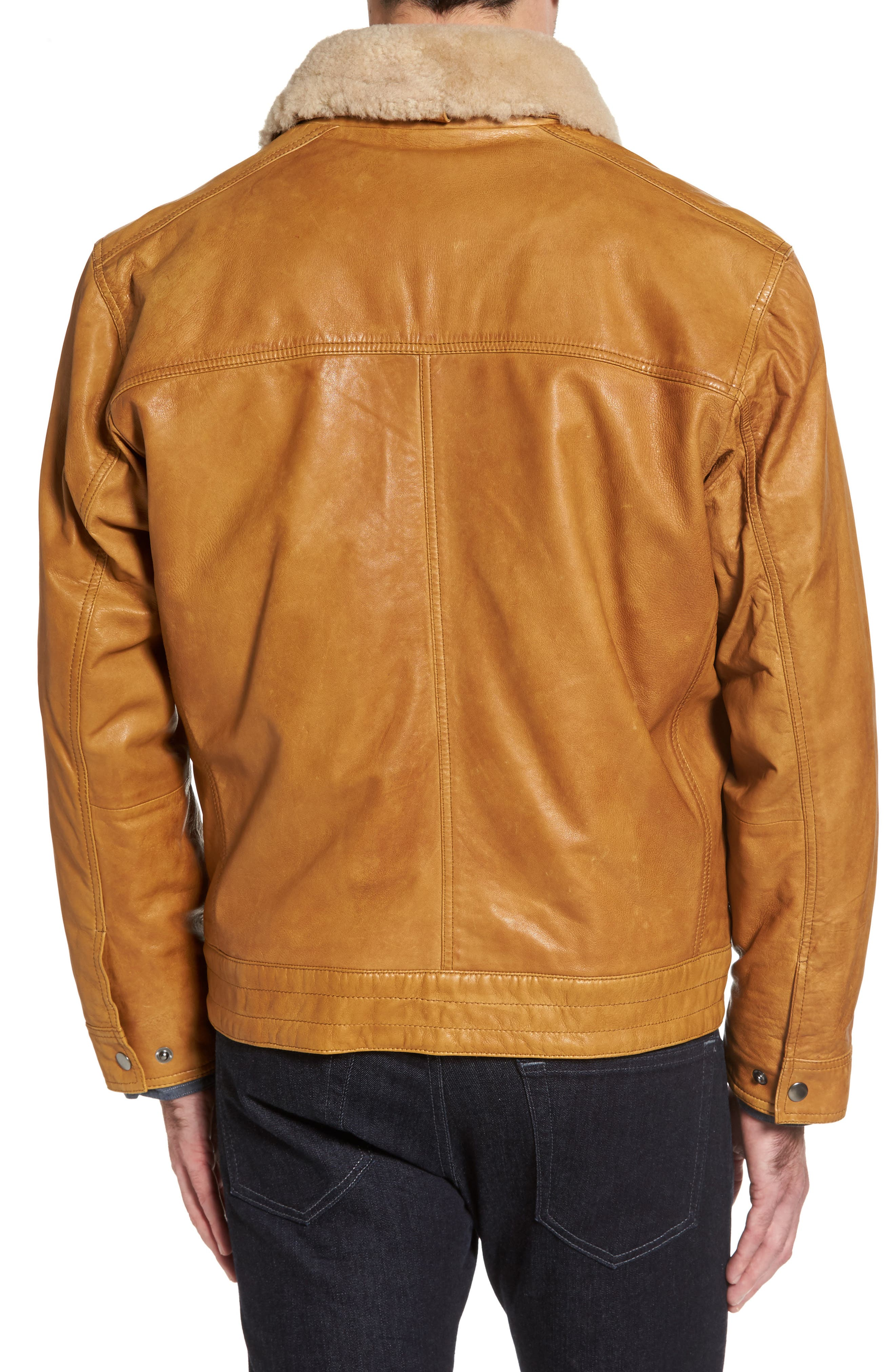 Leather Jacket with Detachable Genuine Shearling Collar,                             Alternate thumbnail 3, color,                             Cognac